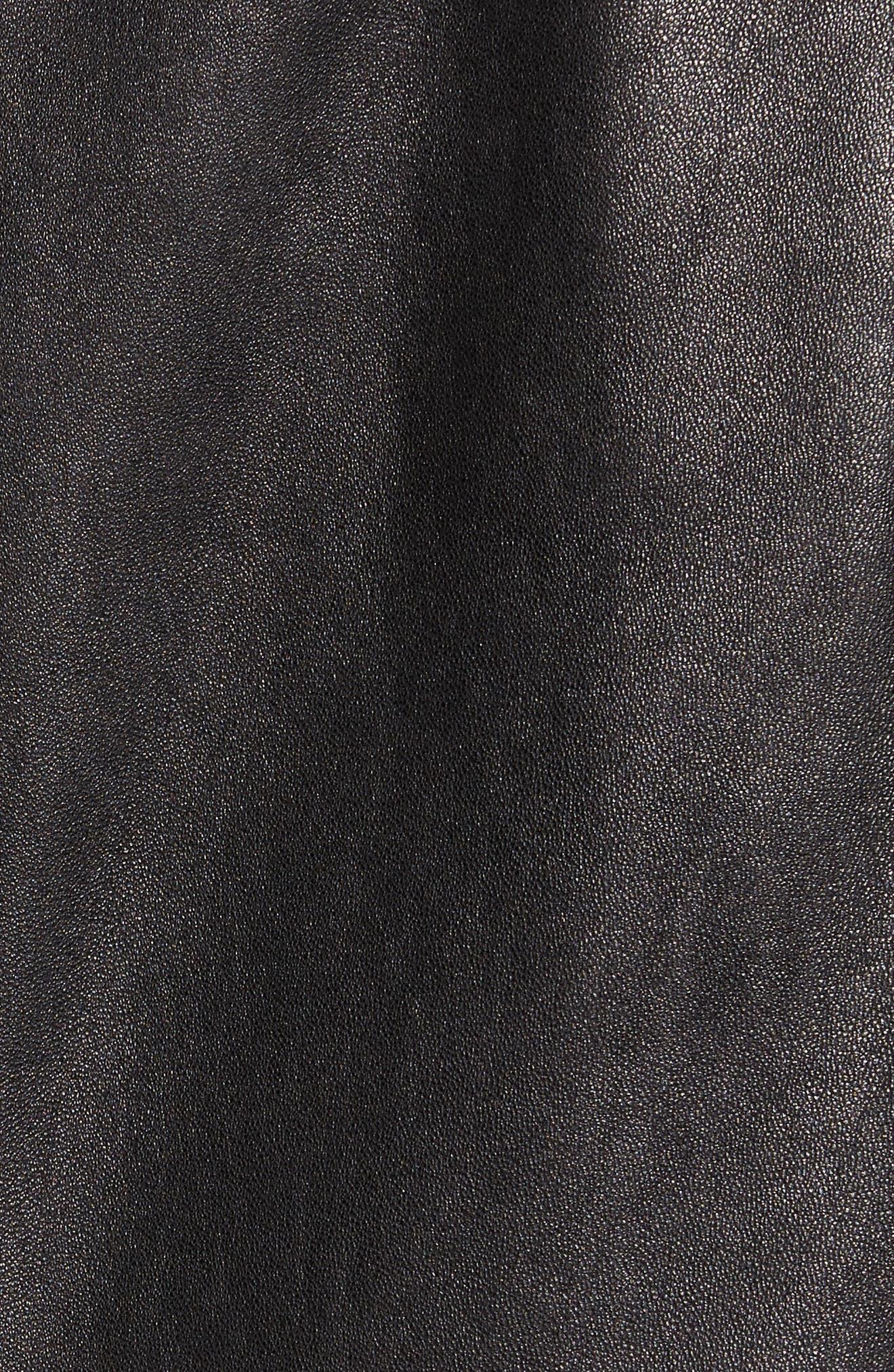 Middlebury Leather Car Coat with Genuine Rabbit Fur Trim,                             Alternate thumbnail 7, color,                             001