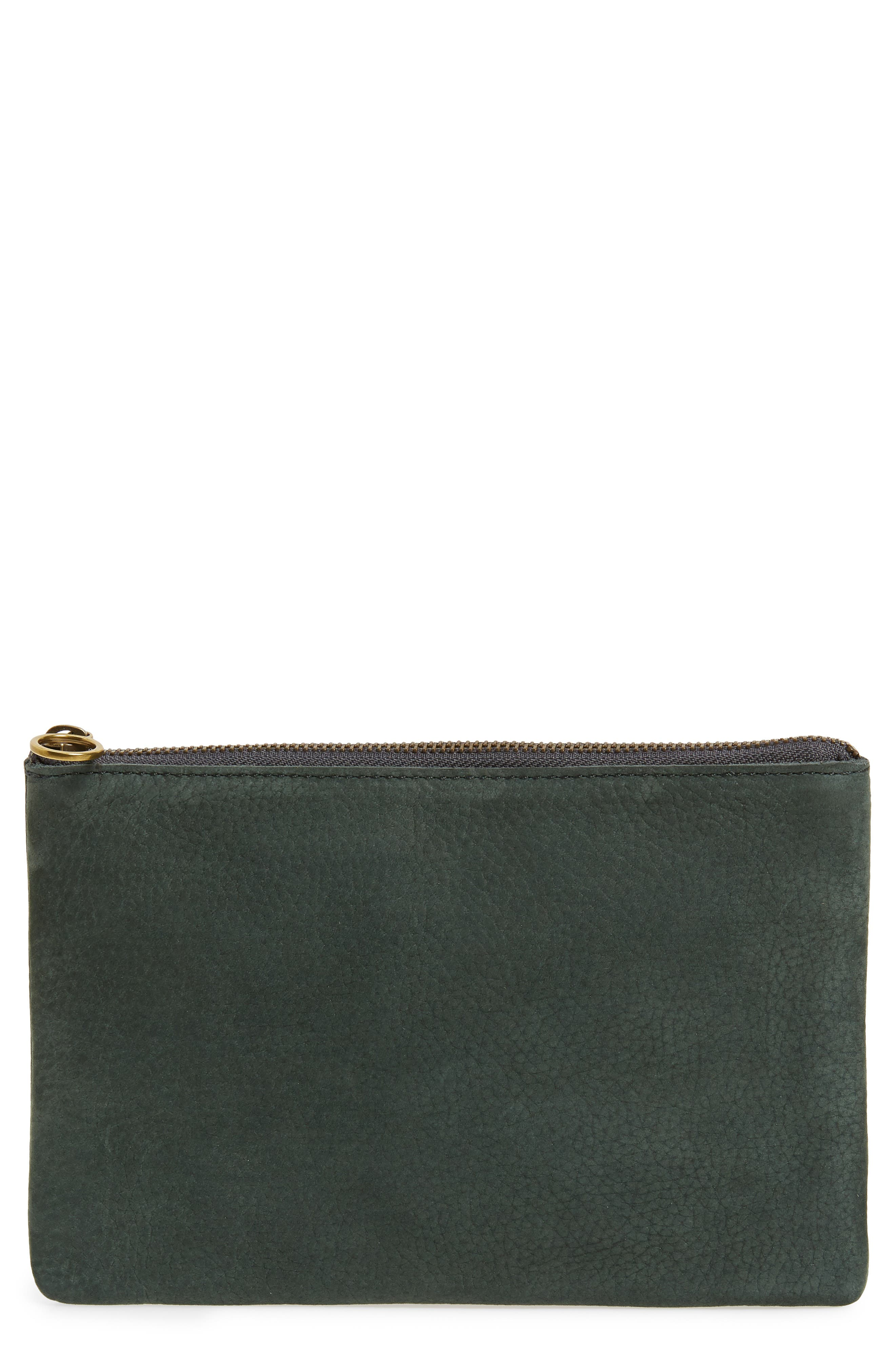 The Leather Pouch Clutch,                             Main thumbnail 1, color,                             HEATHER CYPRESS