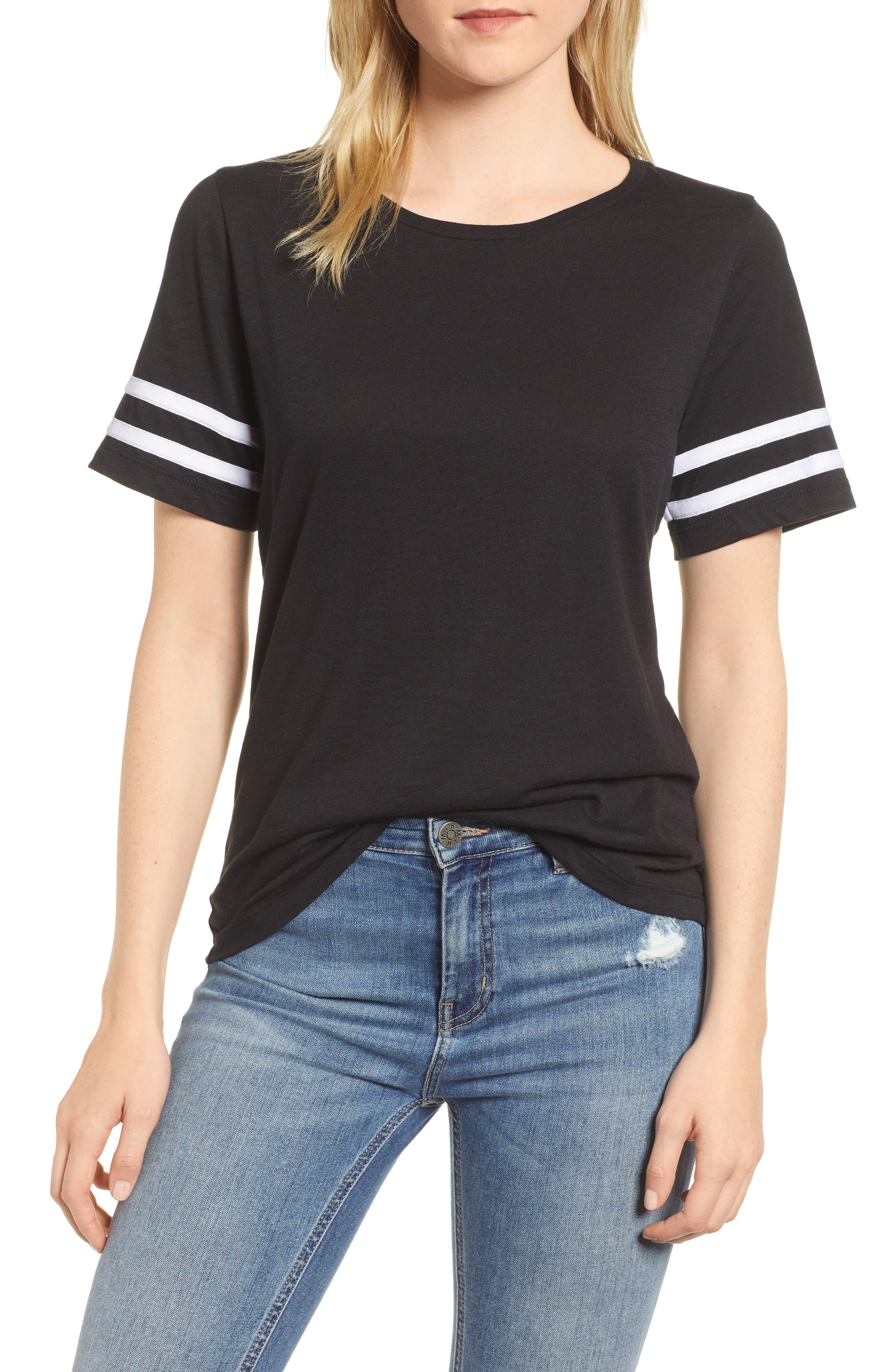 Stripe Sleeve Cotton Blend Athletic Tee,                         Main,                         color,