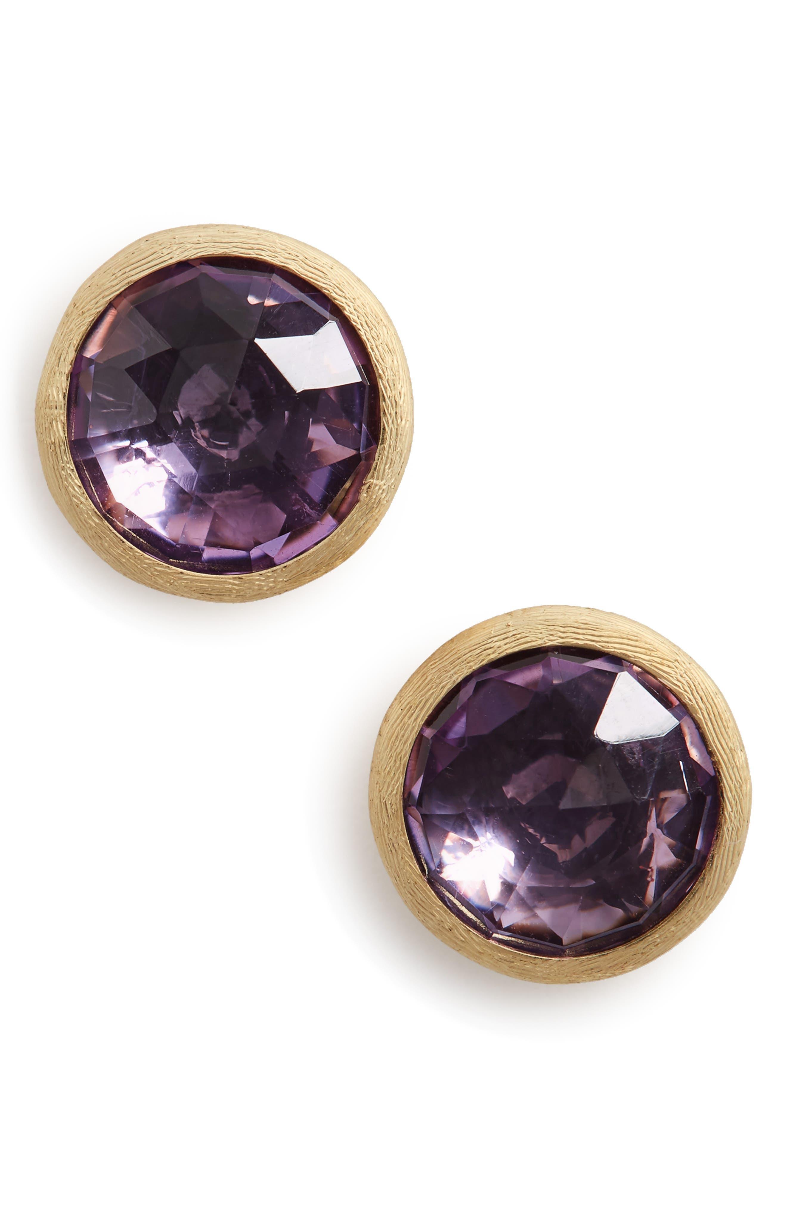 'Jaipur' Stone Stud Earrings,                             Main thumbnail 1, color,                             Amethyst