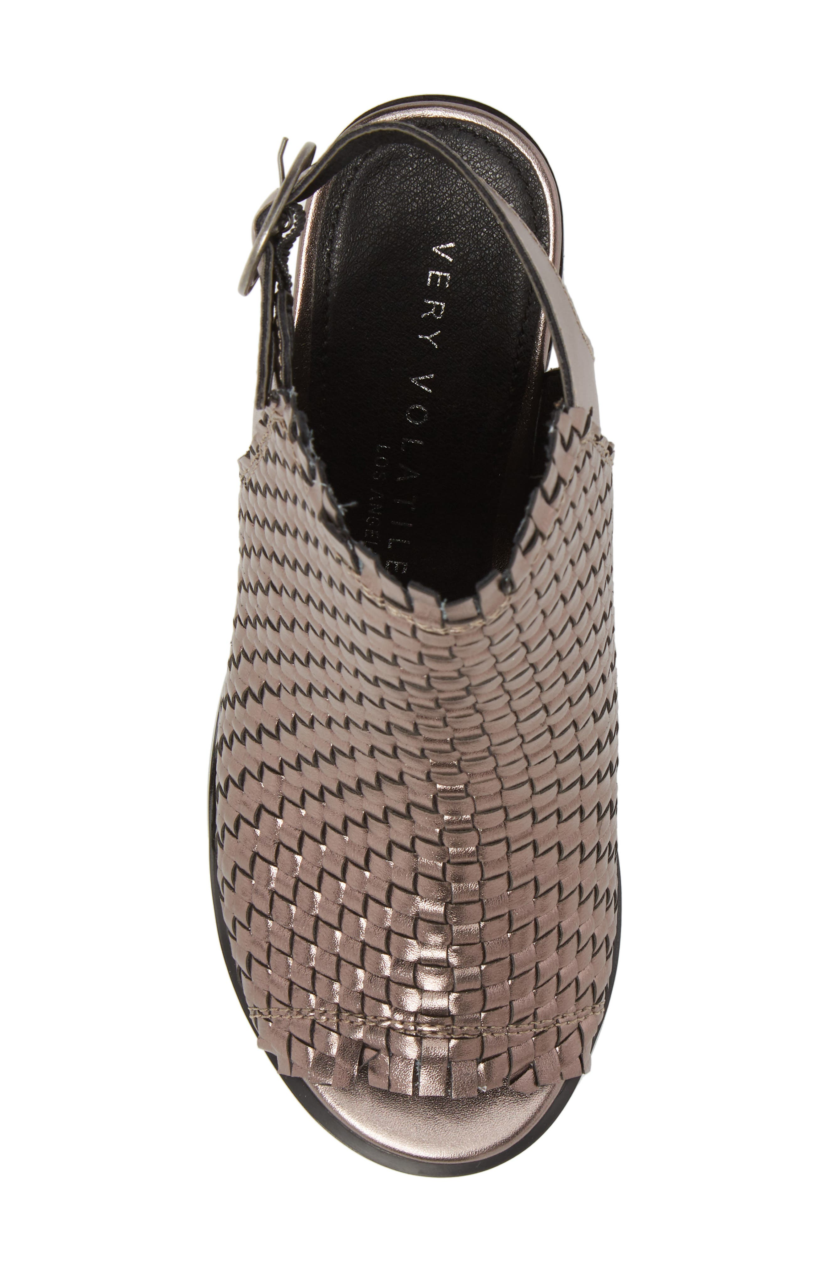 Starla Woven Sandal,                             Alternate thumbnail 5, color,                             PEWTER