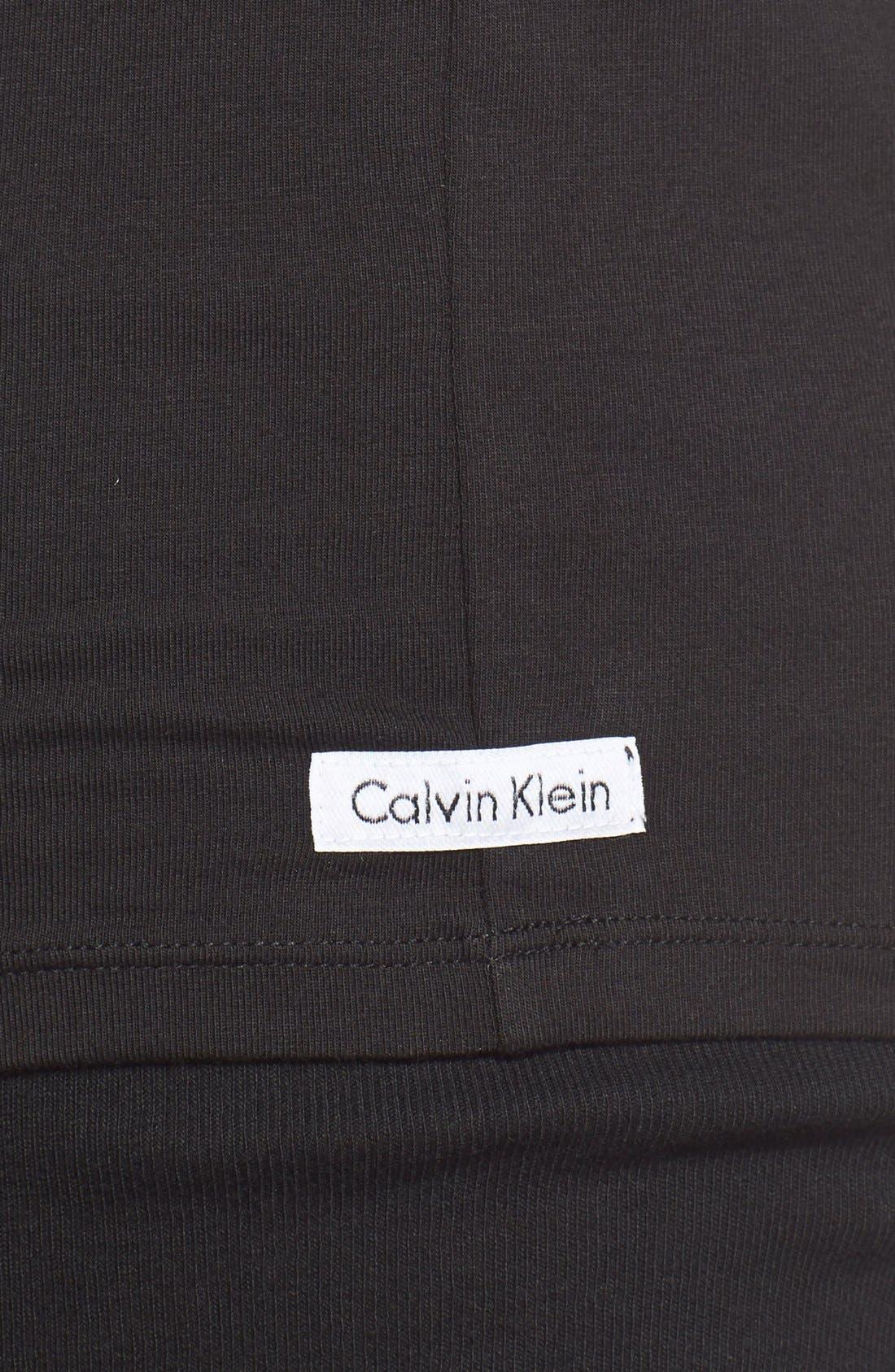 2-Pack Stretch Cotton Crewneck T-Shirt,                             Alternate thumbnail 4, color,                             BLACK
