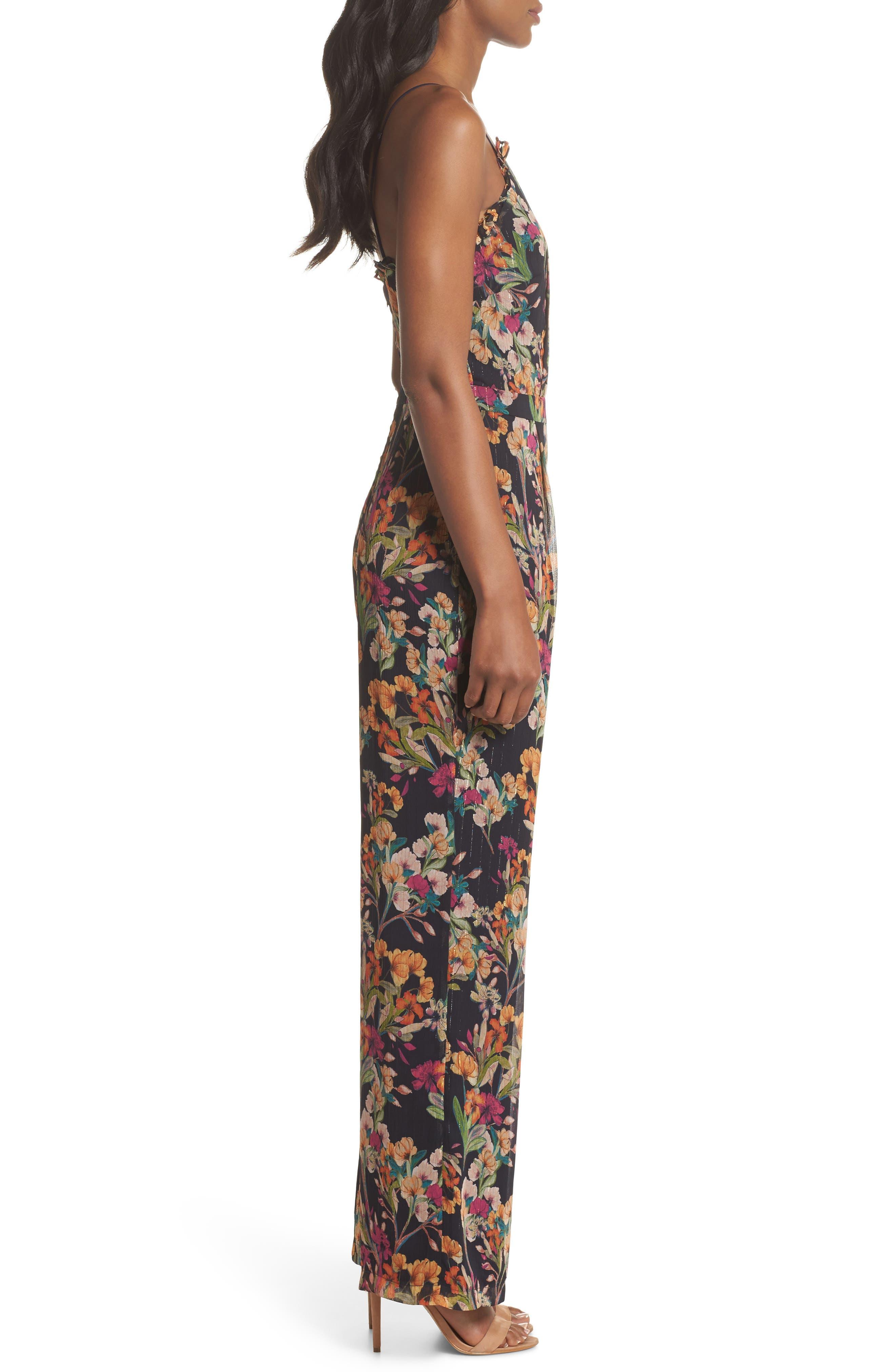 Penelope Floral Print Jumpsuit,                             Alternate thumbnail 3, color,                             NAVY MULTI