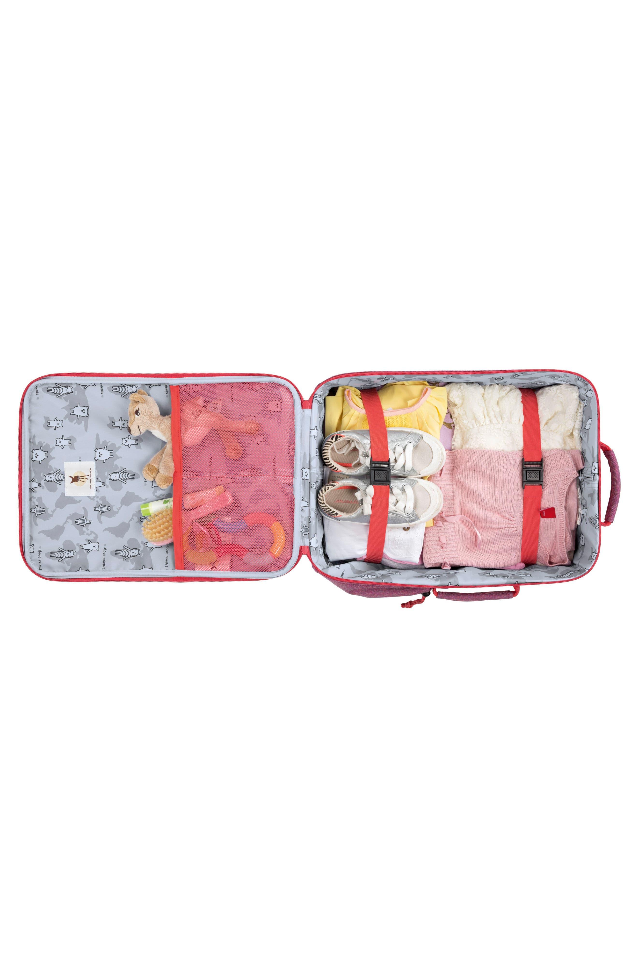 About Friends Rolling Suitcase,                             Alternate thumbnail 3, color,                             MELANGE PINK