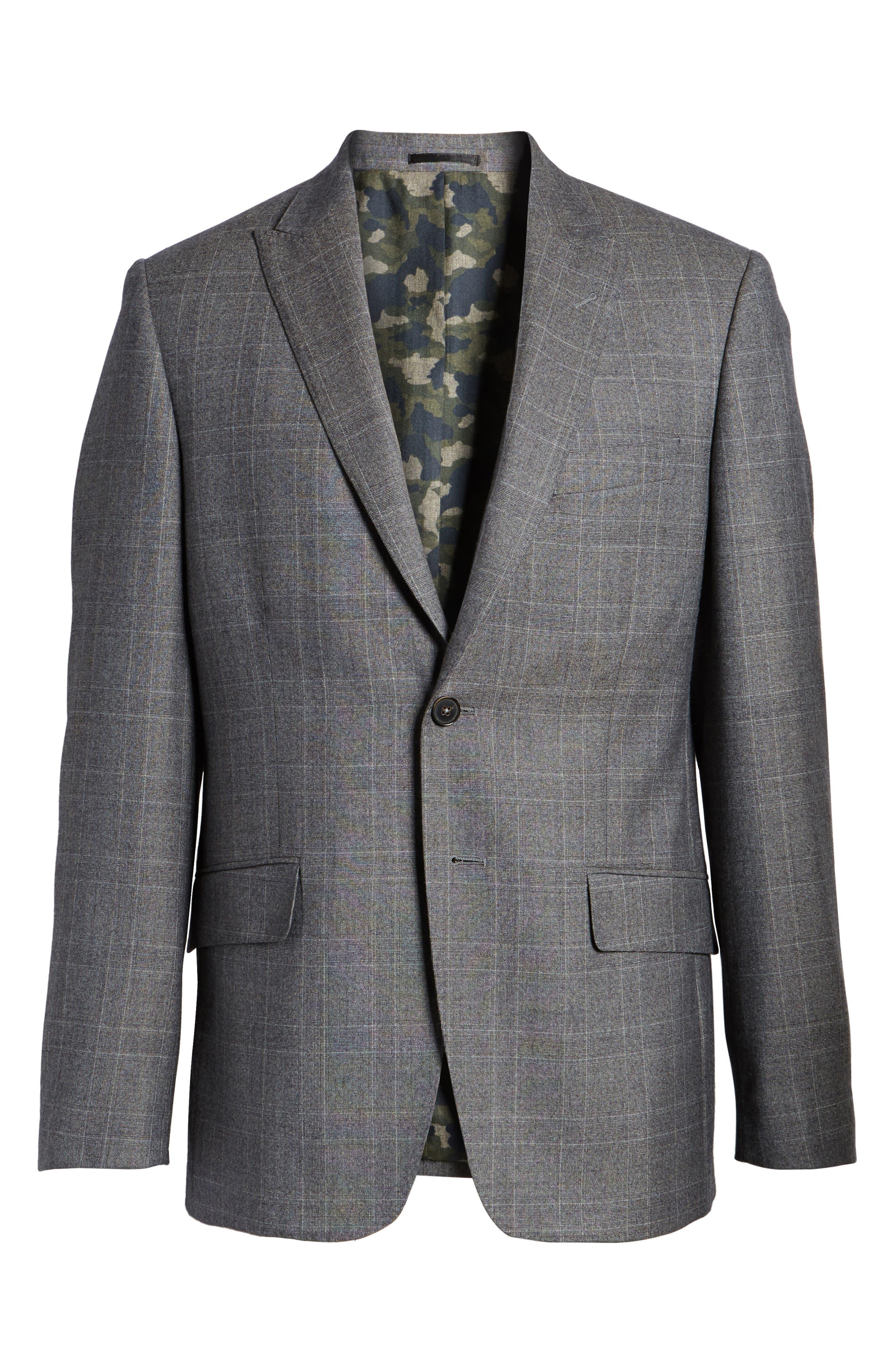 Gryning Trim Fit Plaid Wool Blend Sport Coat,                             Alternate thumbnail 5, color,                             066