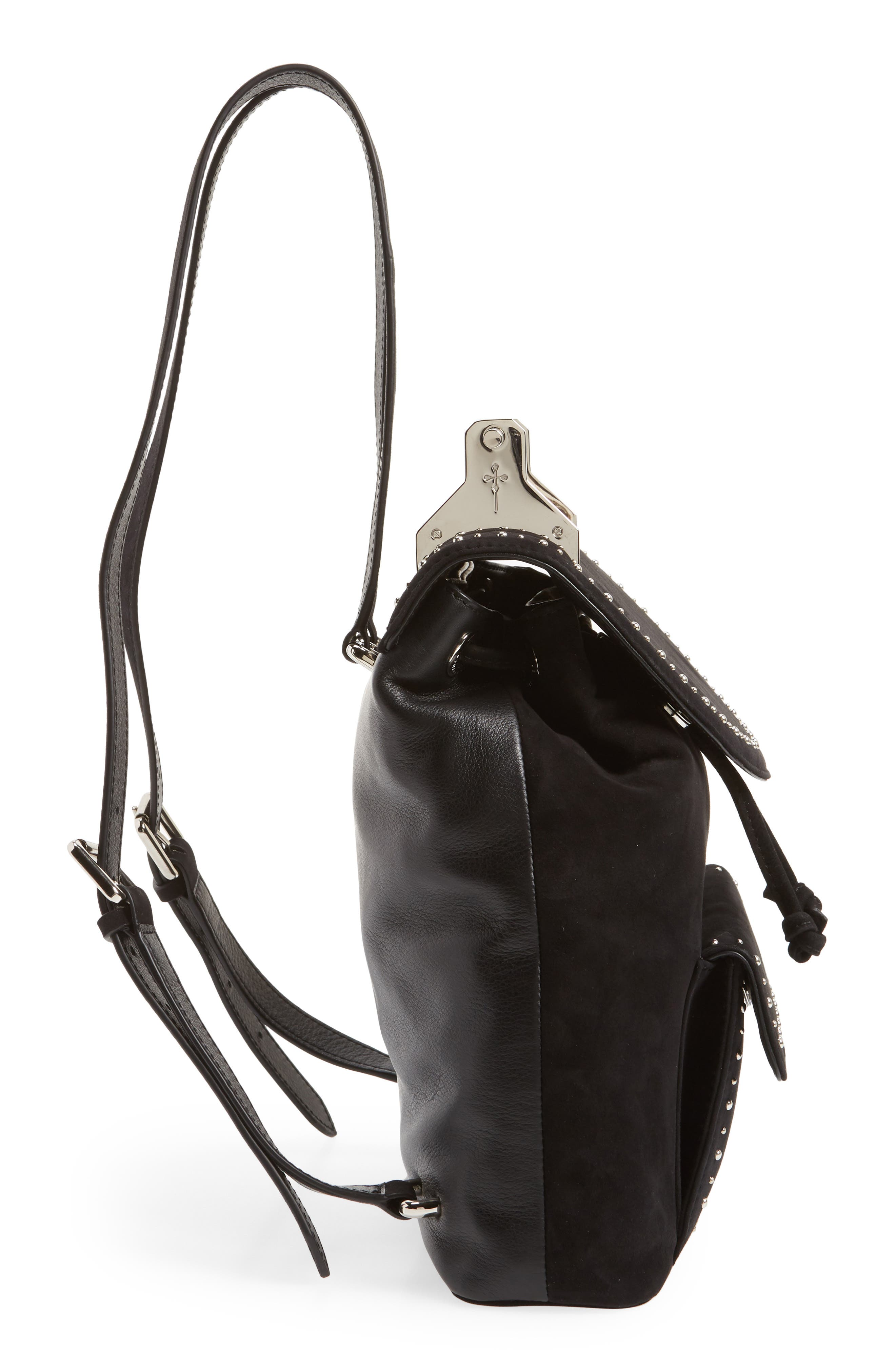 Mini Studded Suede Backpack,                             Alternate thumbnail 5, color,