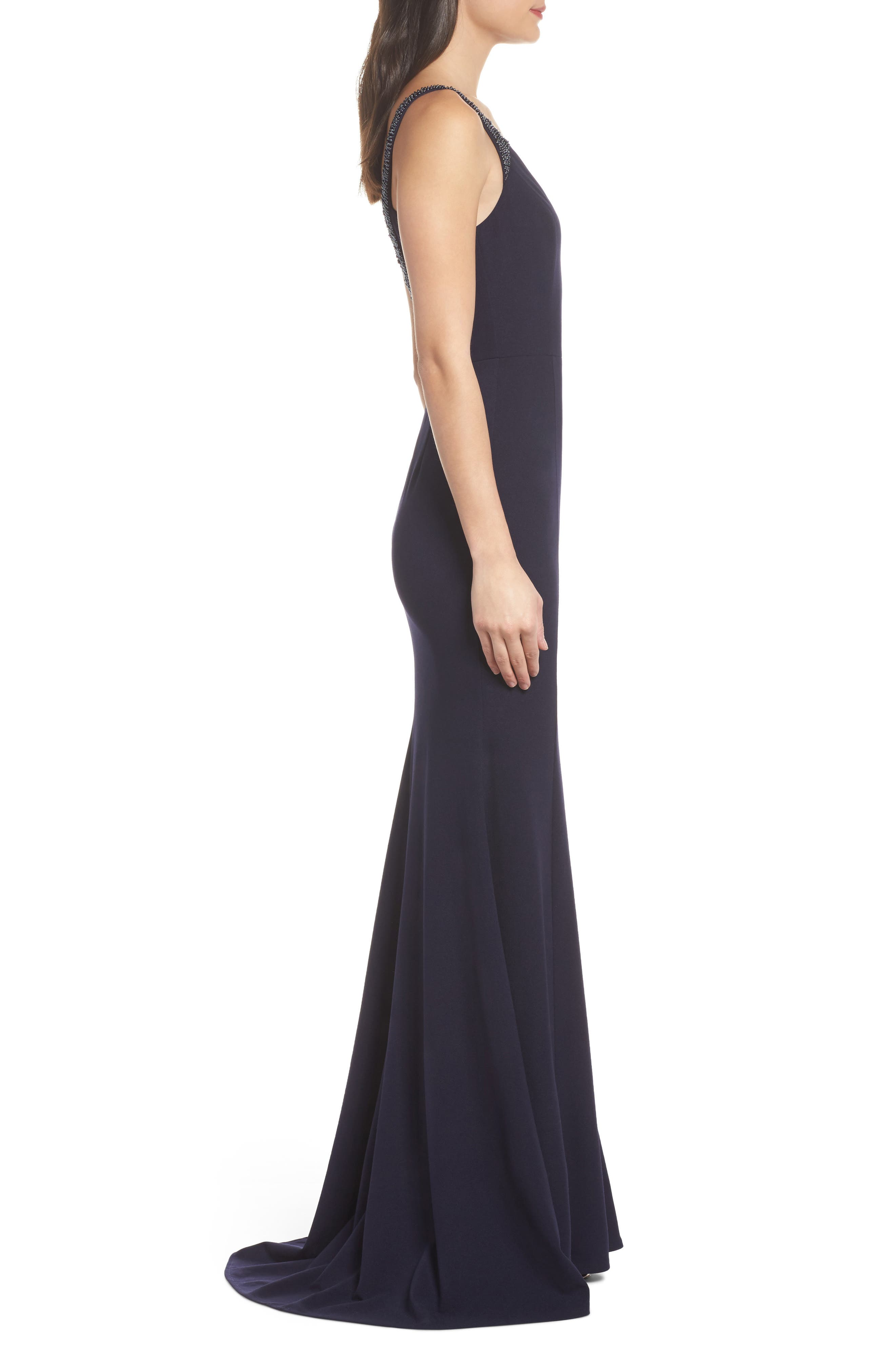 Embellished Strap Trumpet Gown,                             Alternate thumbnail 3, color,                             NAVY