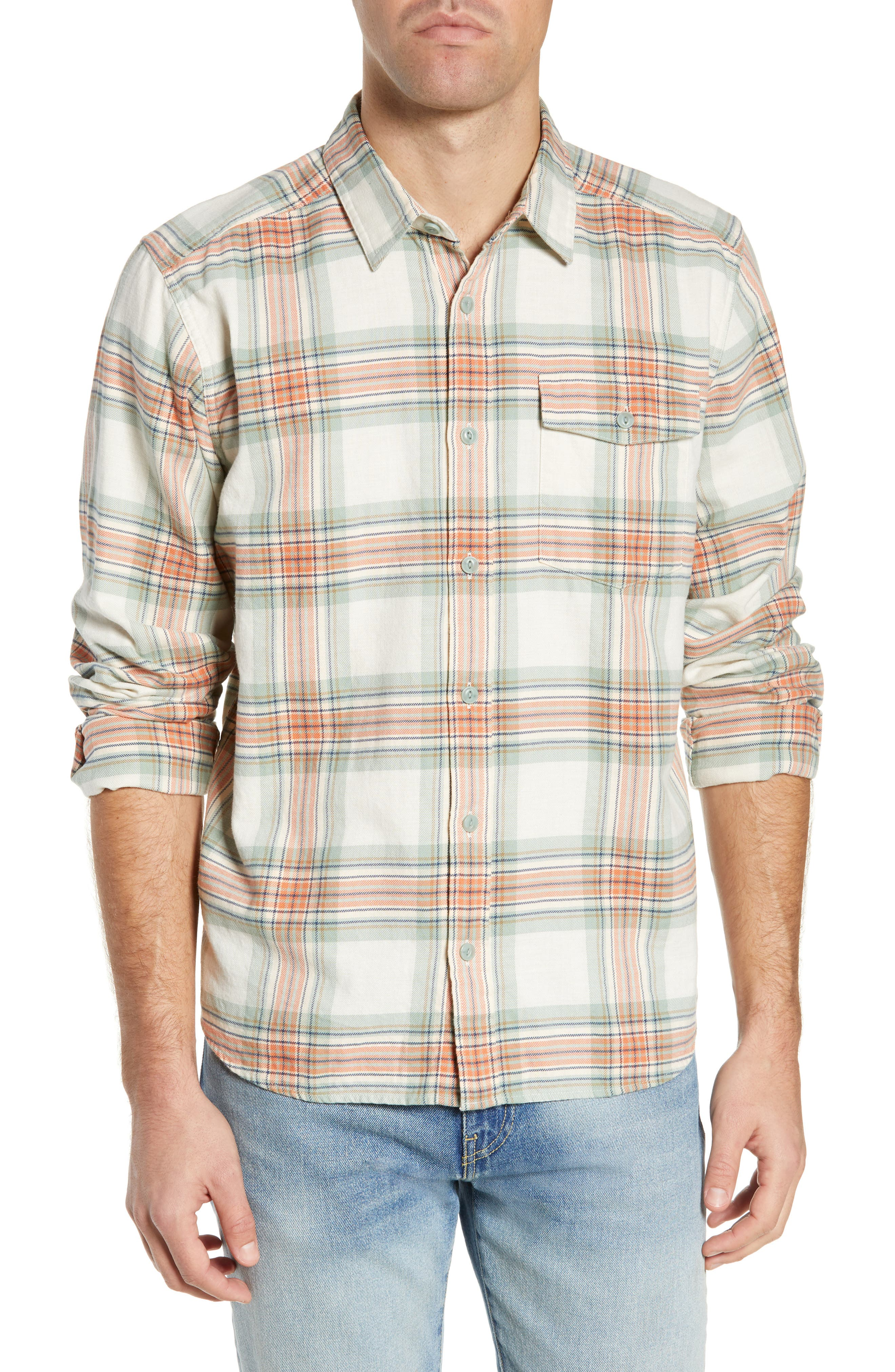 Patagonia Regular Fit Organic Cotton Flannel Shirt, Green