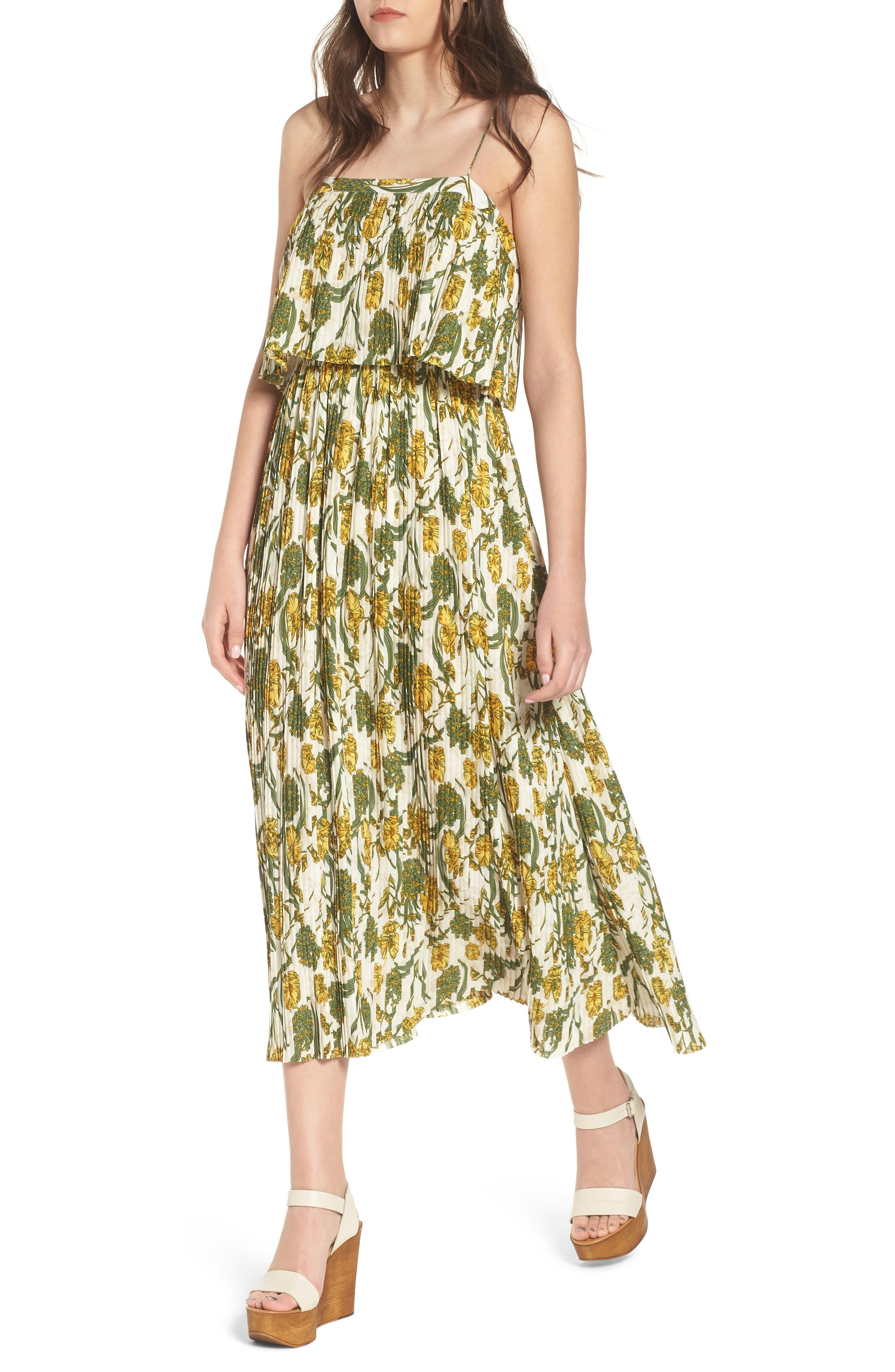Pleated Midi Dress,                         Main,                         color, 900