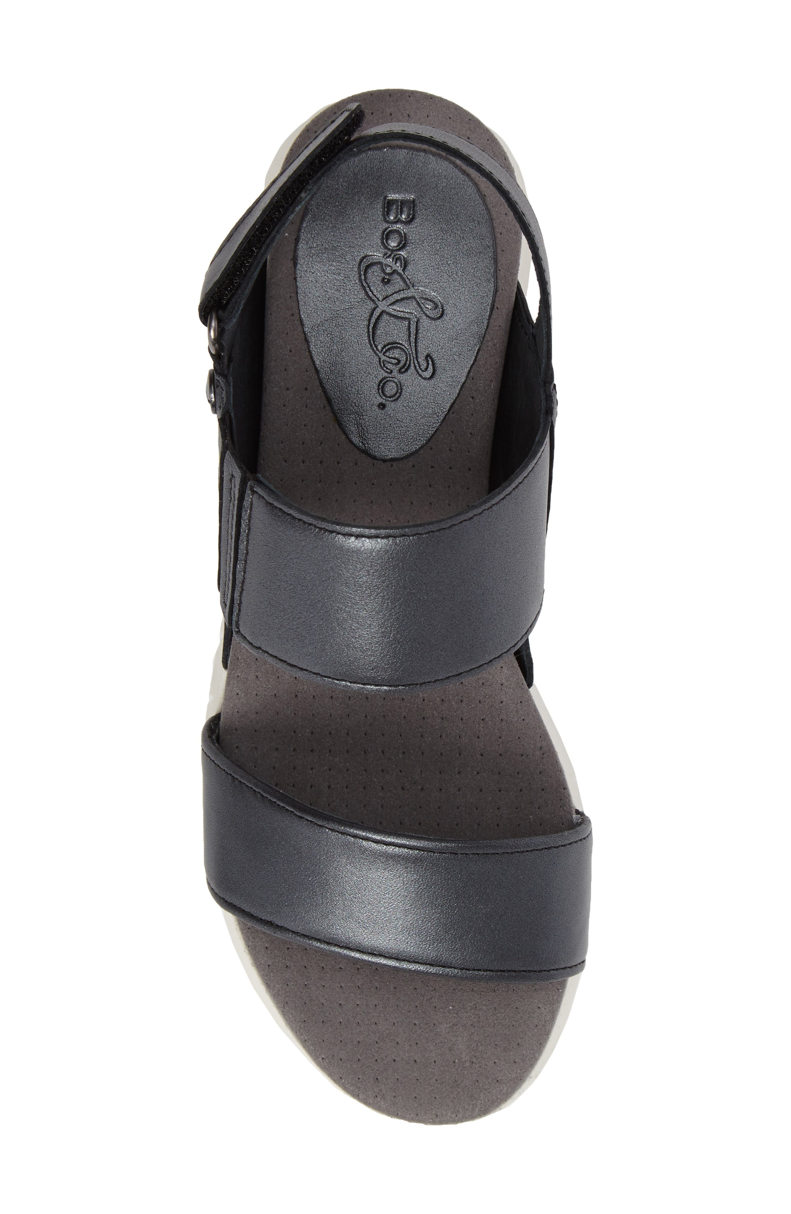 Payge Wedge Sandal,                             Alternate thumbnail 5, color,                             BLACK LEATHER