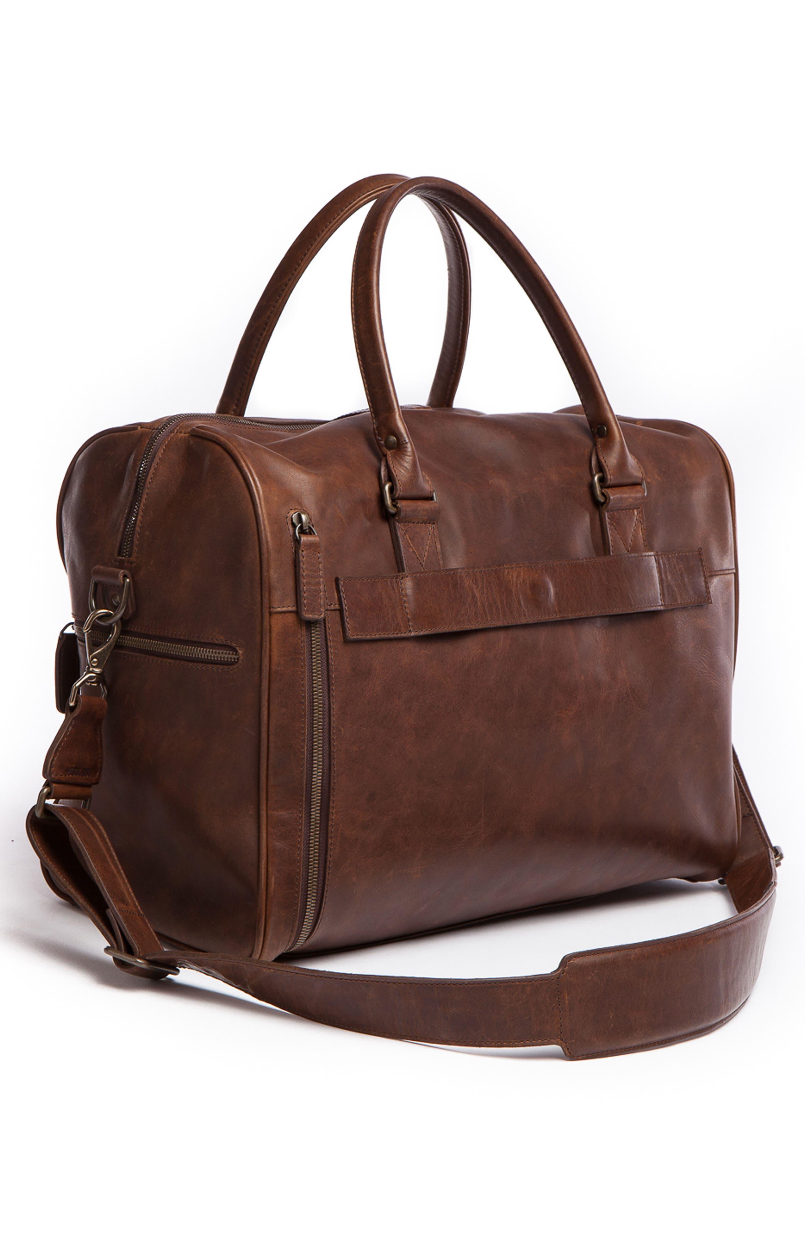 Booker Leather Duffel Bag,                             Alternate thumbnail 3, color,                             BALDWIN OAK