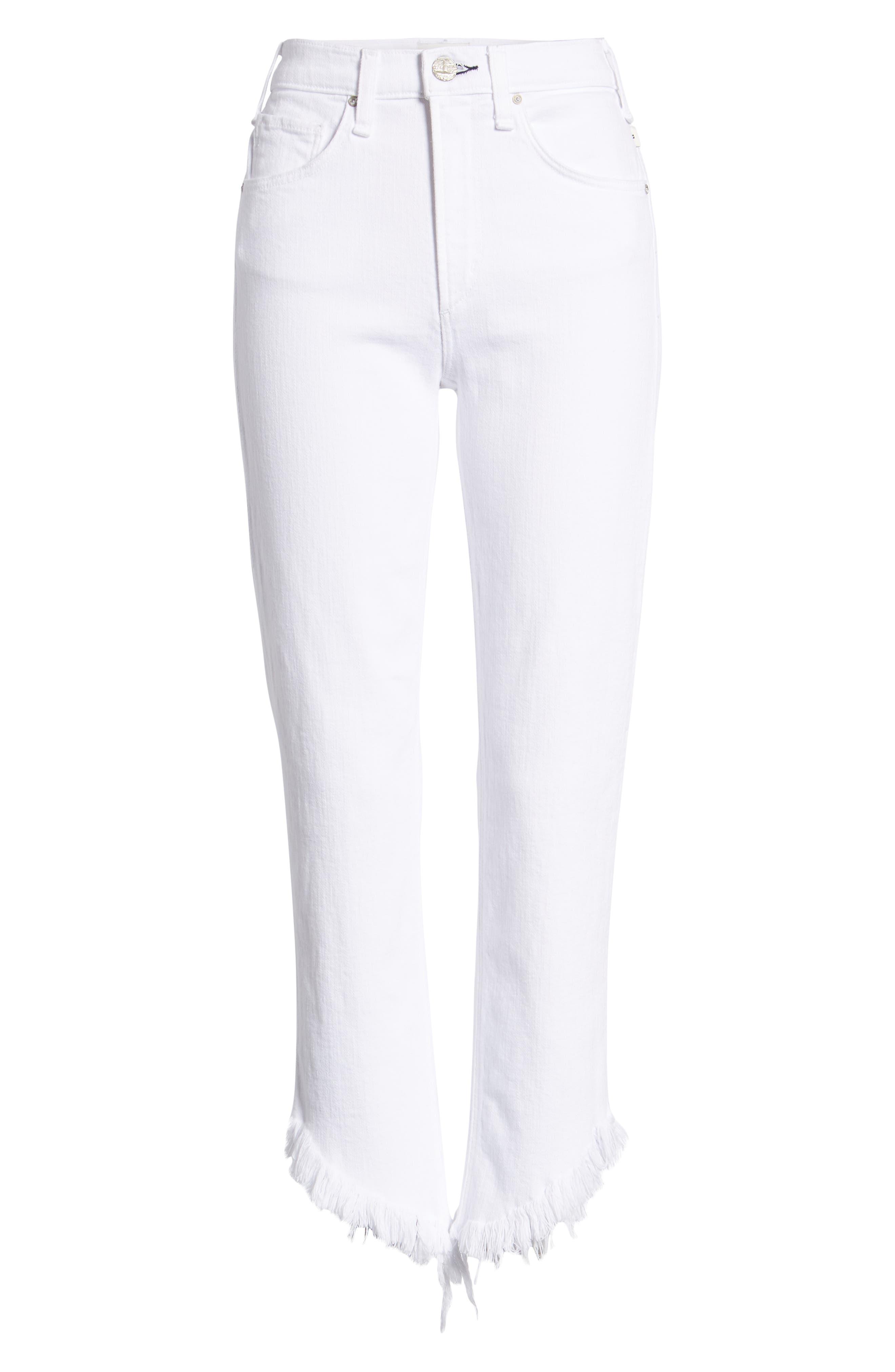 Valletta High Waist Crop Straight Leg Jeans,                             Alternate thumbnail 7, color,                             100