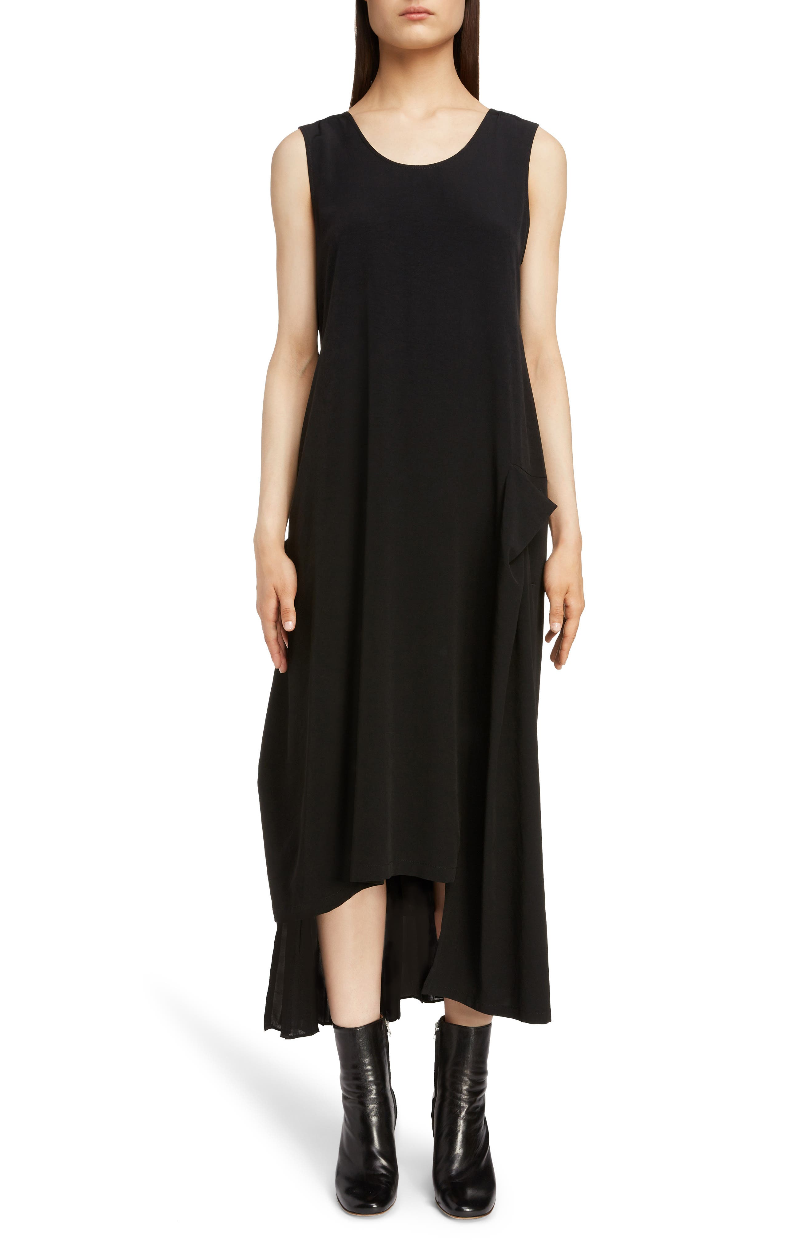 Pleat Detail Sleeveless Dress,                         Main,                         color, BLACK