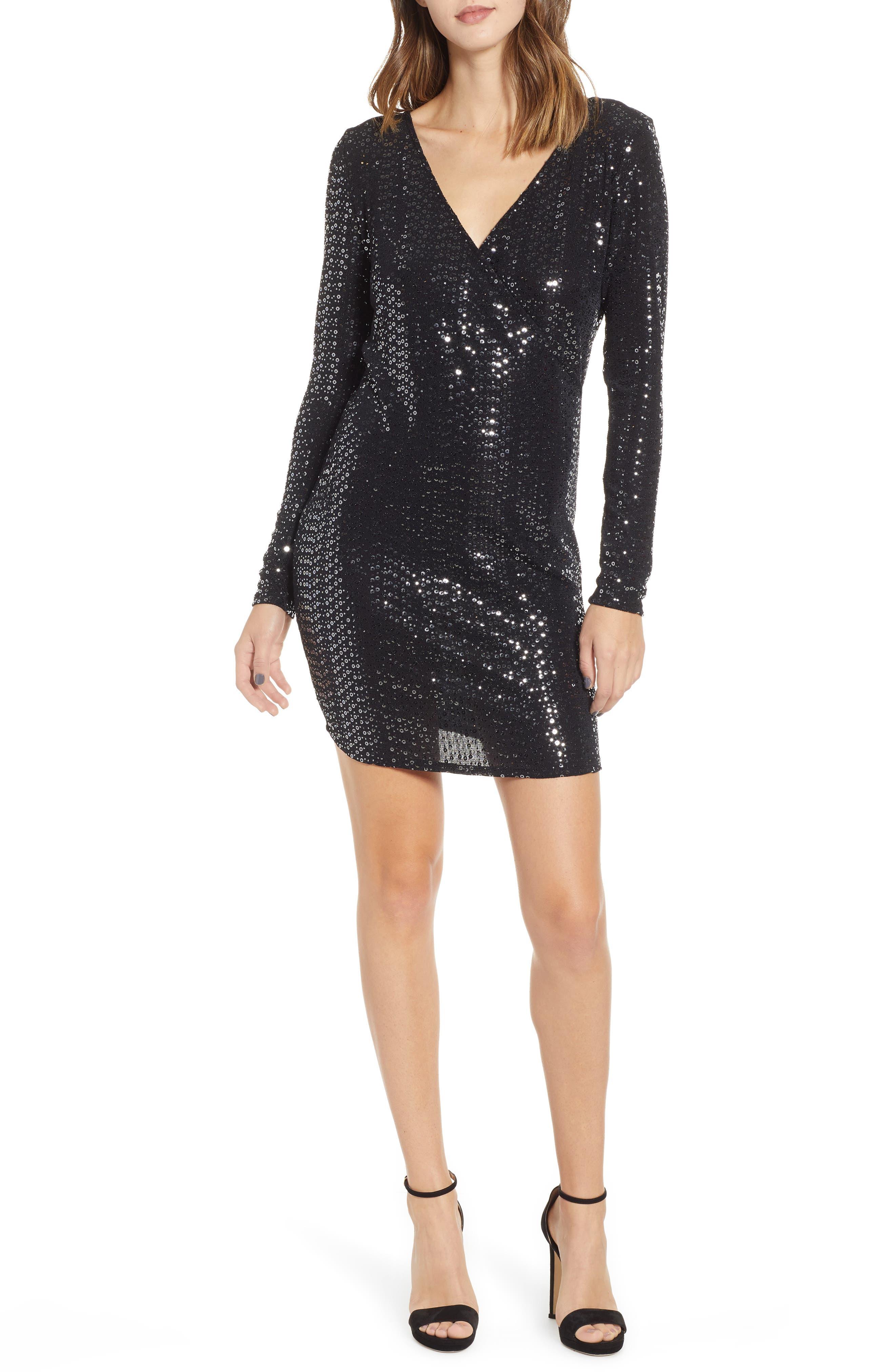 Leith Sequin Sheath Dress, Black