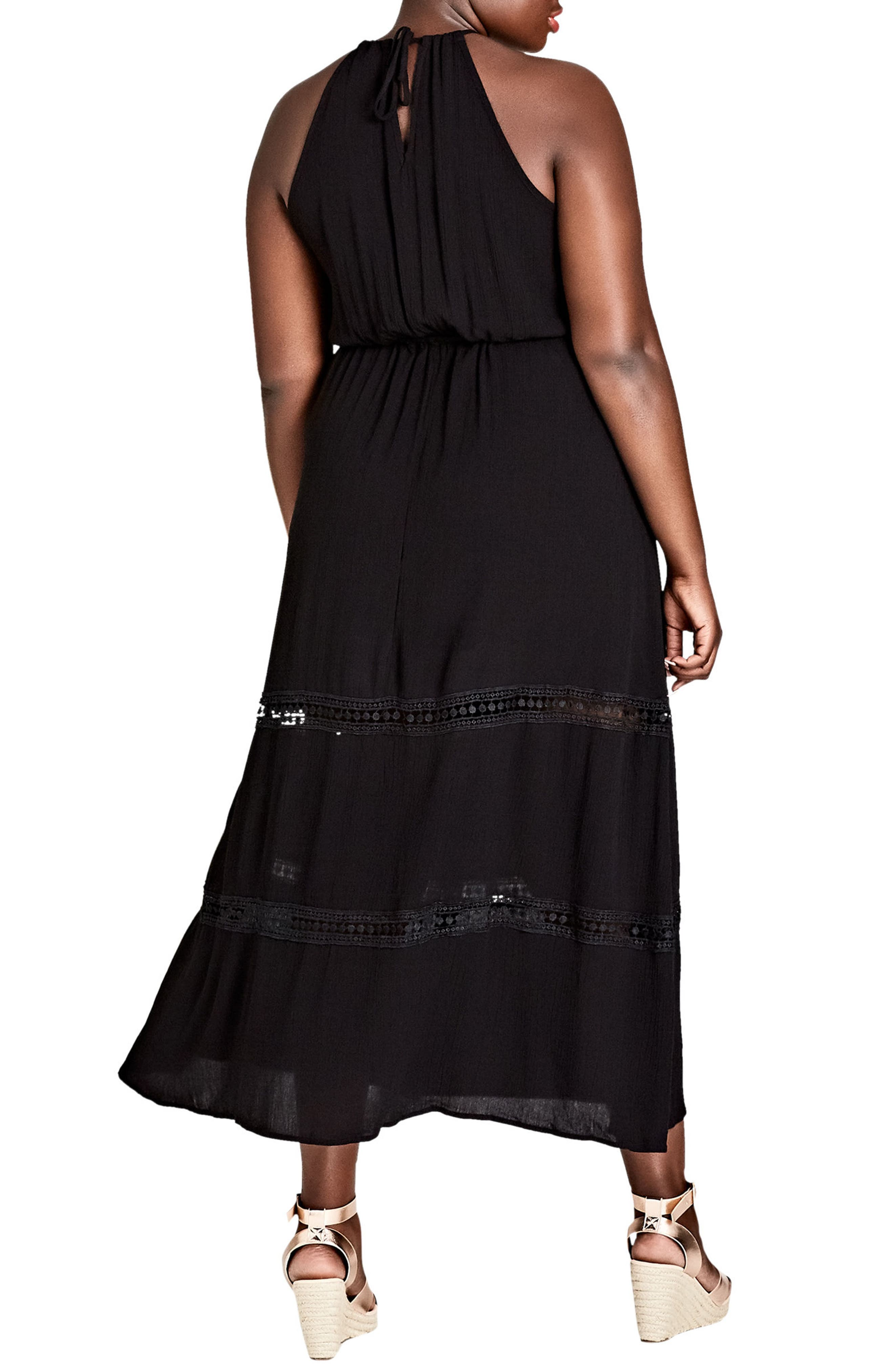 Summer Holiday Maxi Dress,                             Alternate thumbnail 2, color,                             BLACK