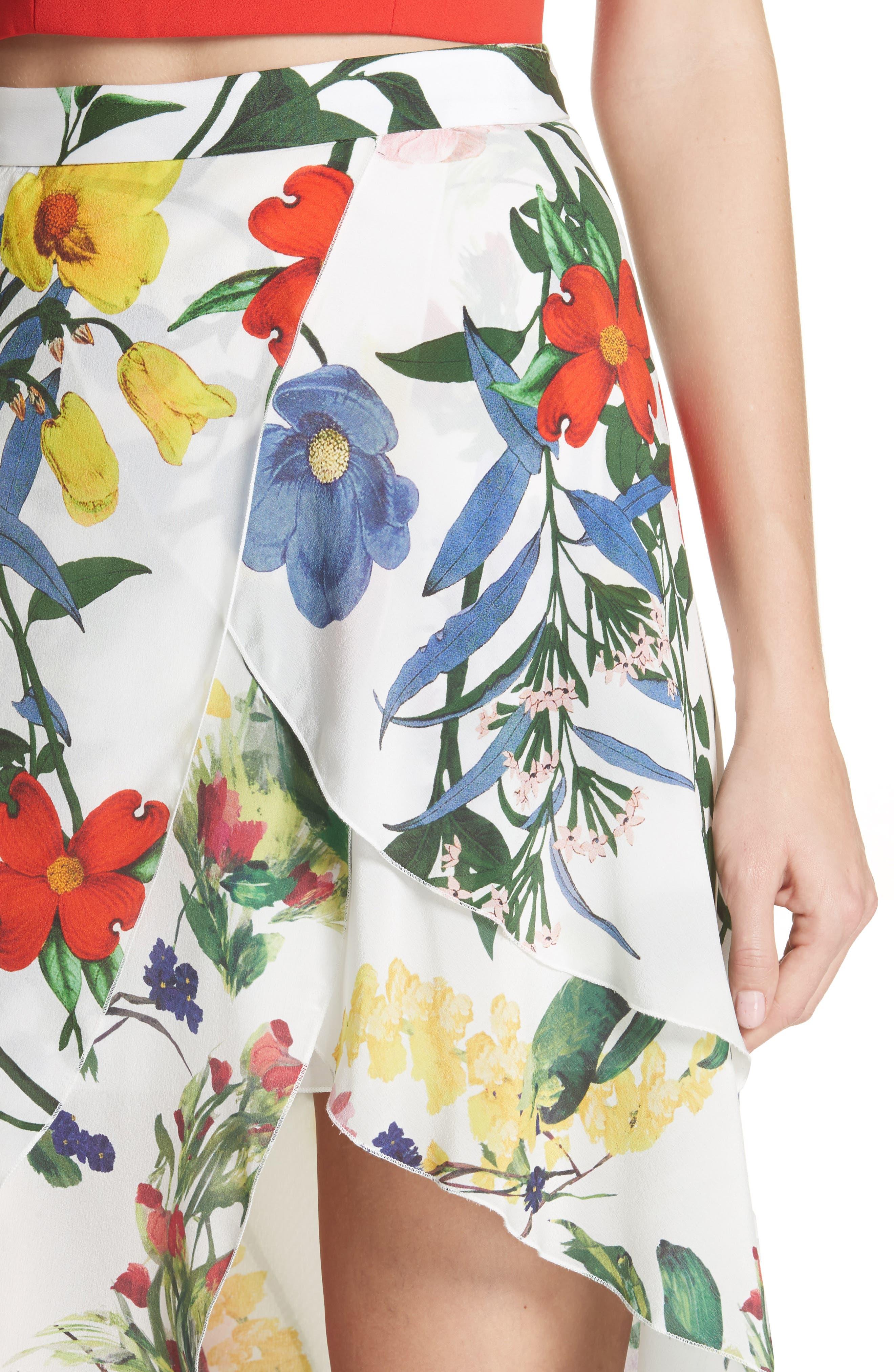 Joeann Asymmetrical Floral Silk Skirt,                             Alternate thumbnail 4, color,                             178