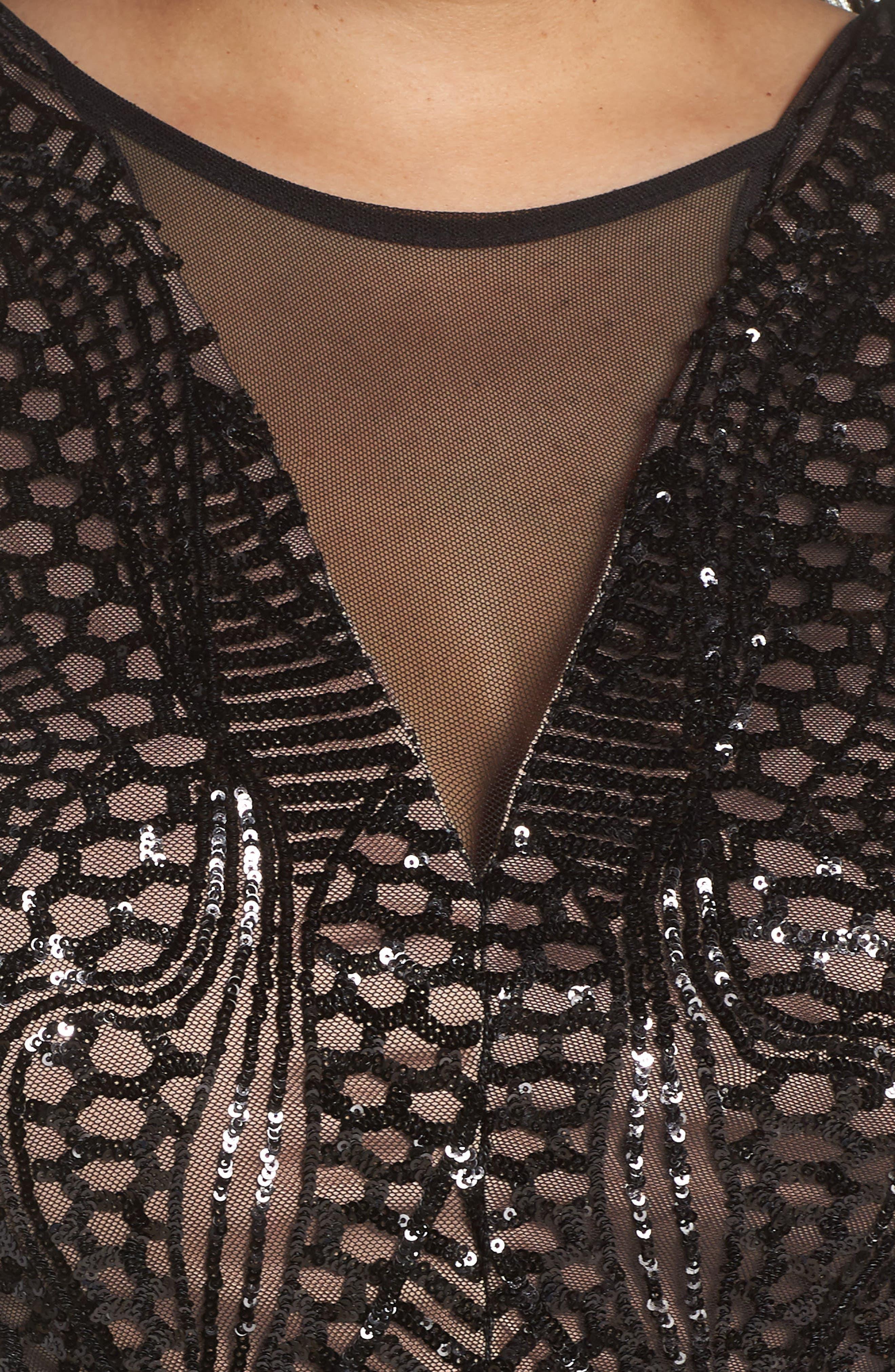 Sequin Bodice Illusion Neck Gown,                             Alternate thumbnail 4, color,                             BLACK