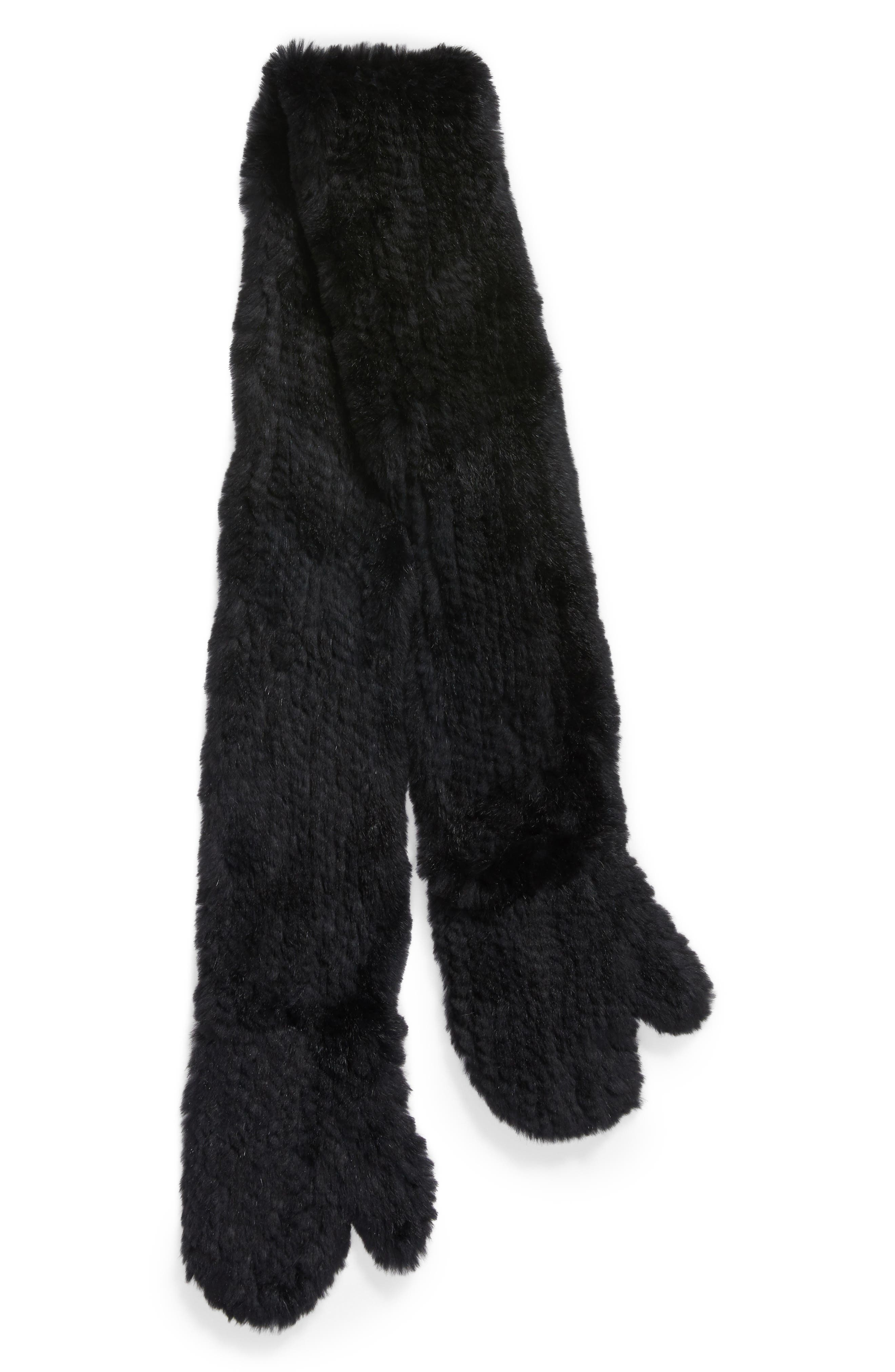 Genuine Rabbit Fur Scarf with Built-in Mittens,                             Alternate thumbnail 2, color,                             001