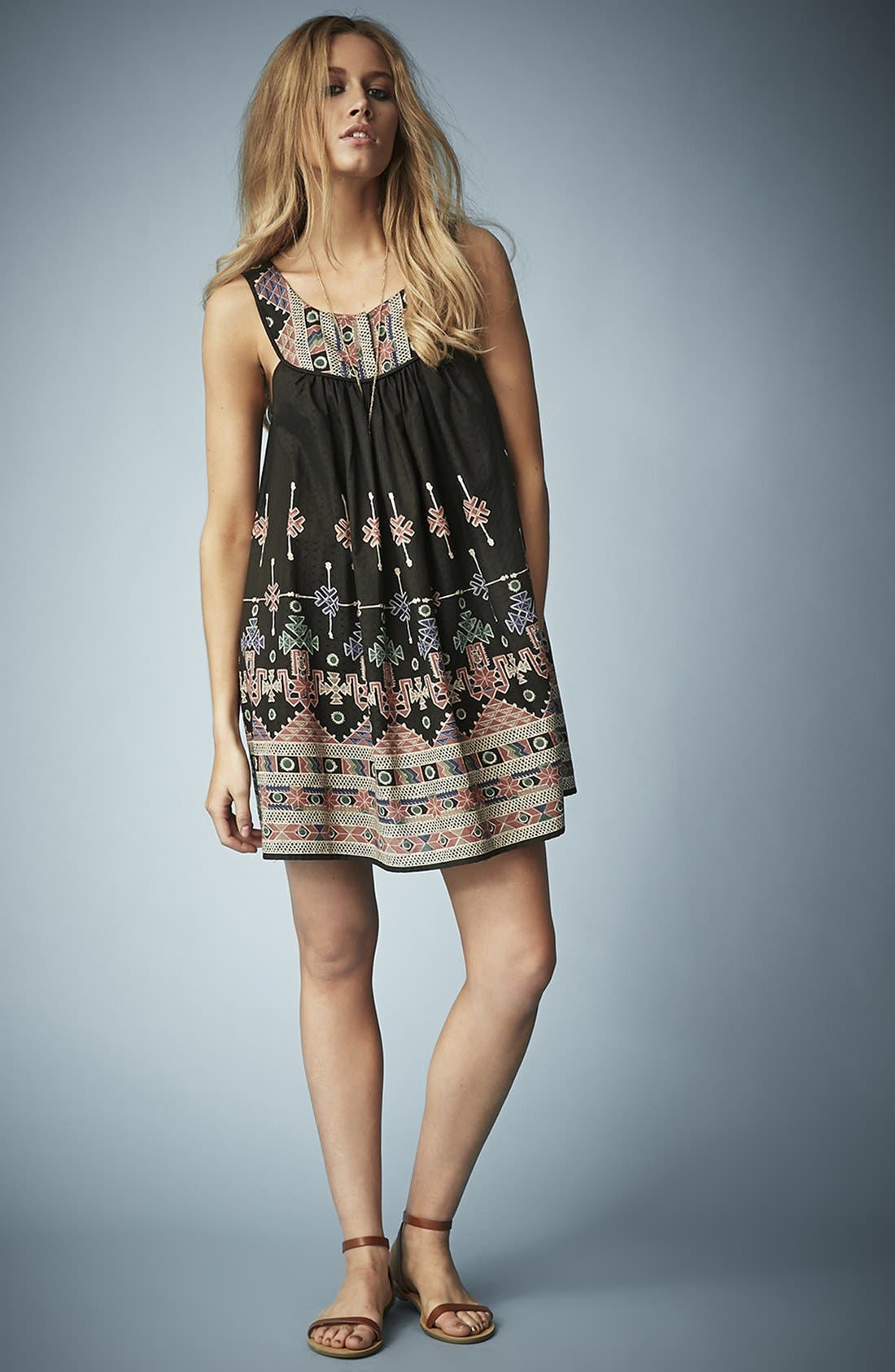 Kate Moss for Topshop Aztec Print Sundress,                             Alternate thumbnail 5, color,                             001
