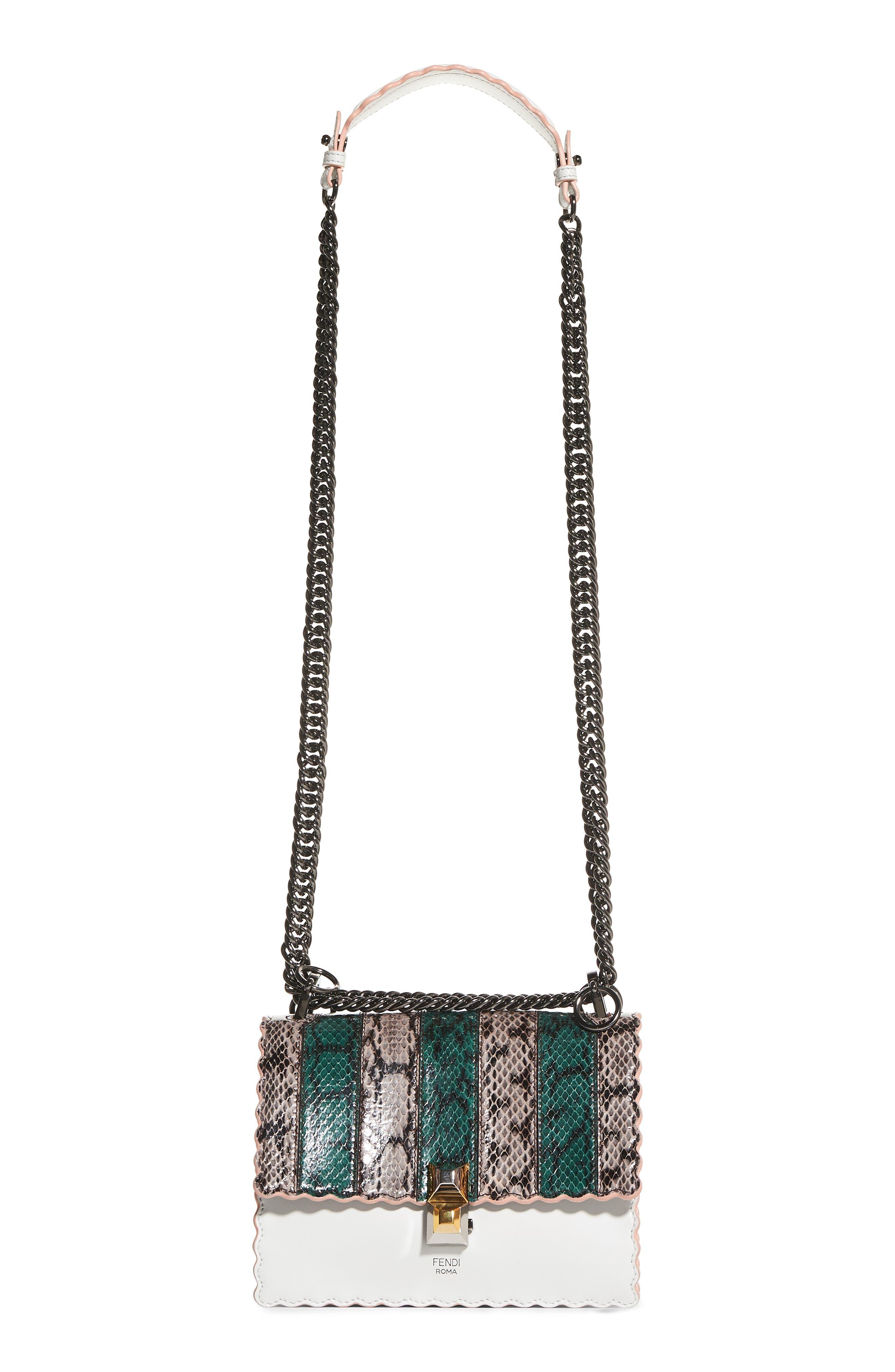 Mini Kan Scallop Genuine Snakeskin & Leather Shoulder Bag,                         Main,                         color, TAUPE/ROMARO/WHITE