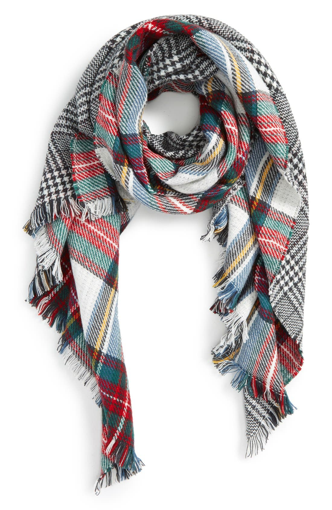 Accessory Collective Plaid Reversible Scarf, Main, color, 117