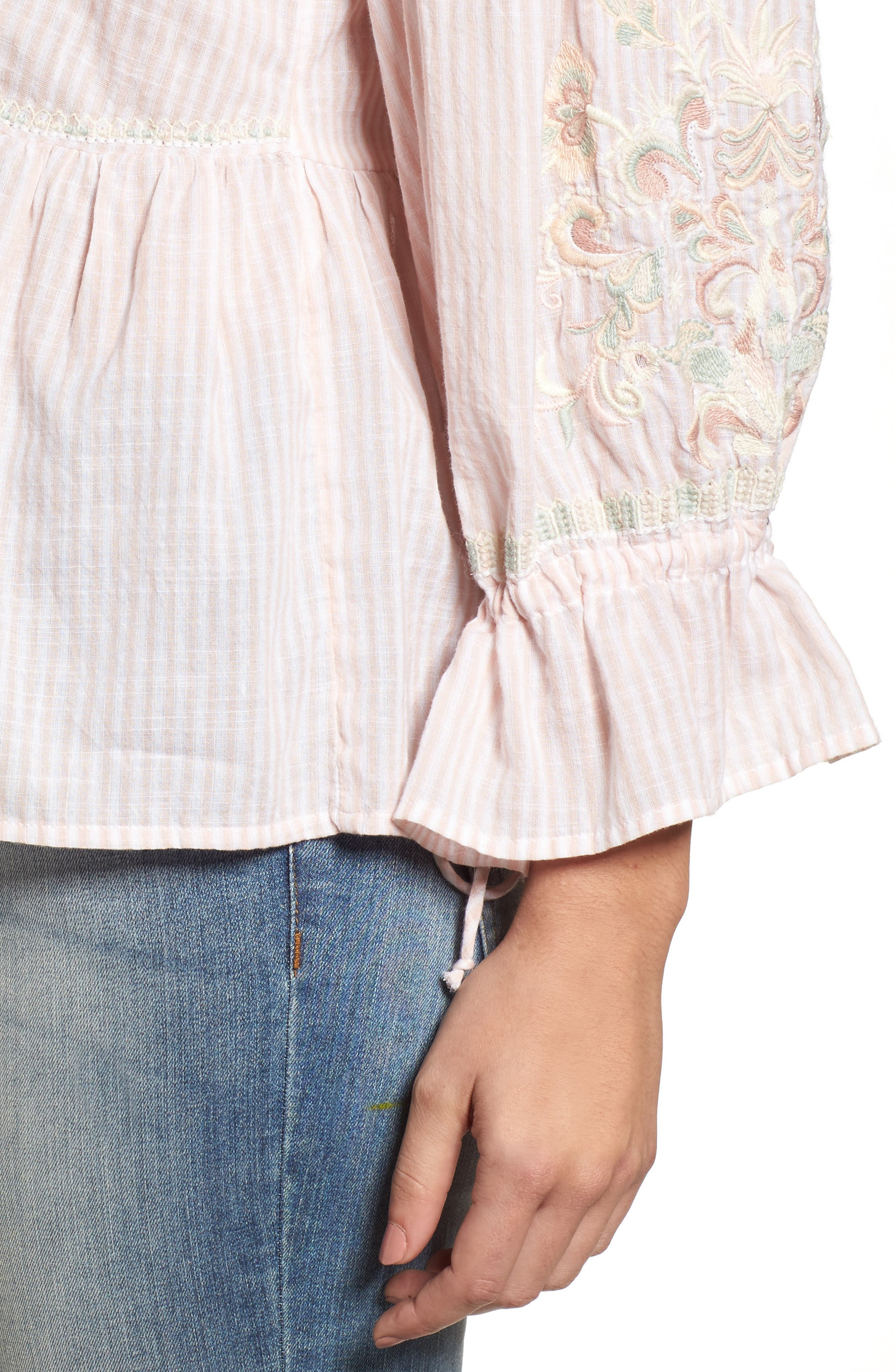 Embroidered Sleeve Top,                             Alternate thumbnail 8, color,