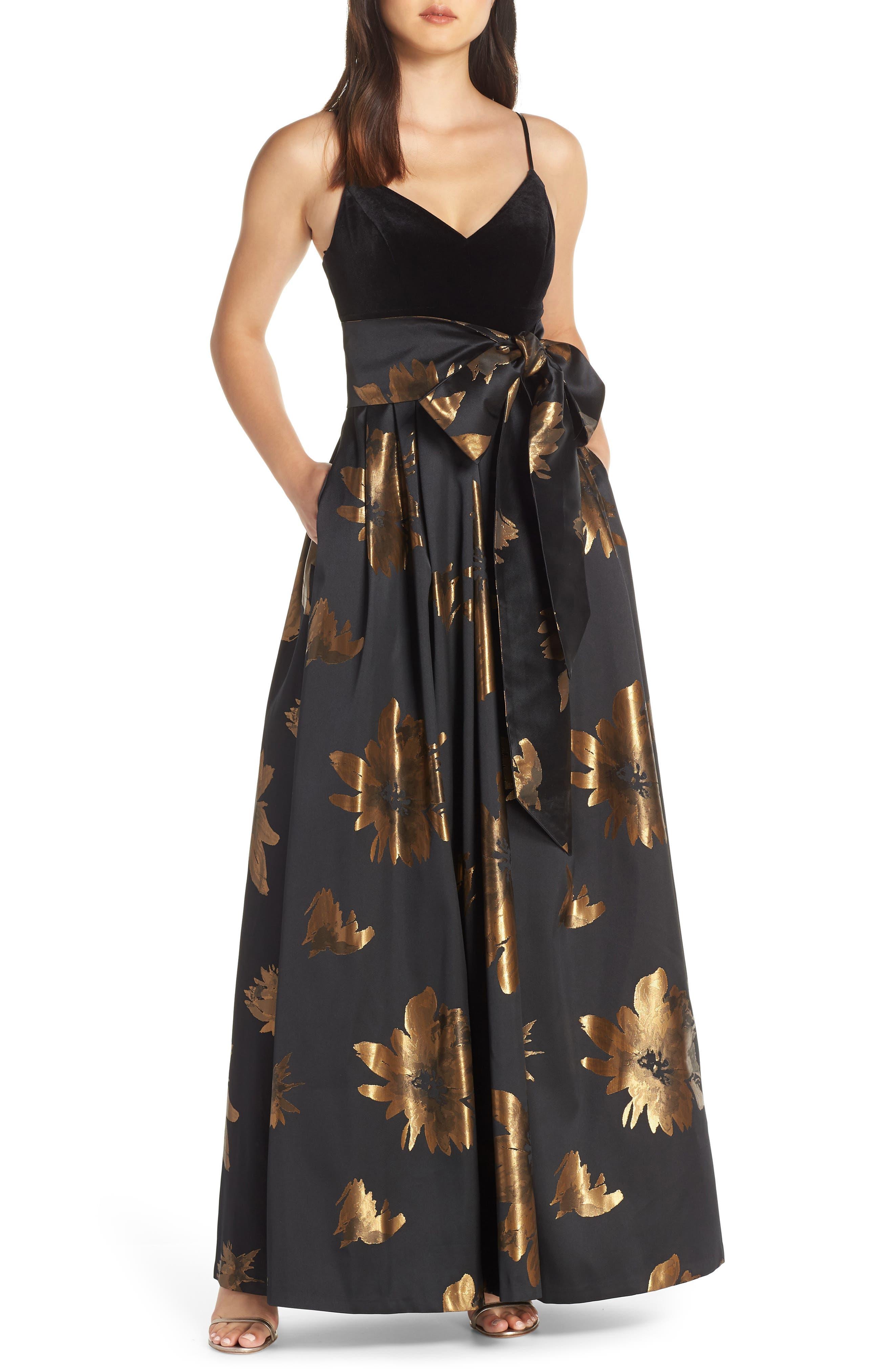 Eliza J Metallic Print Gown, Black