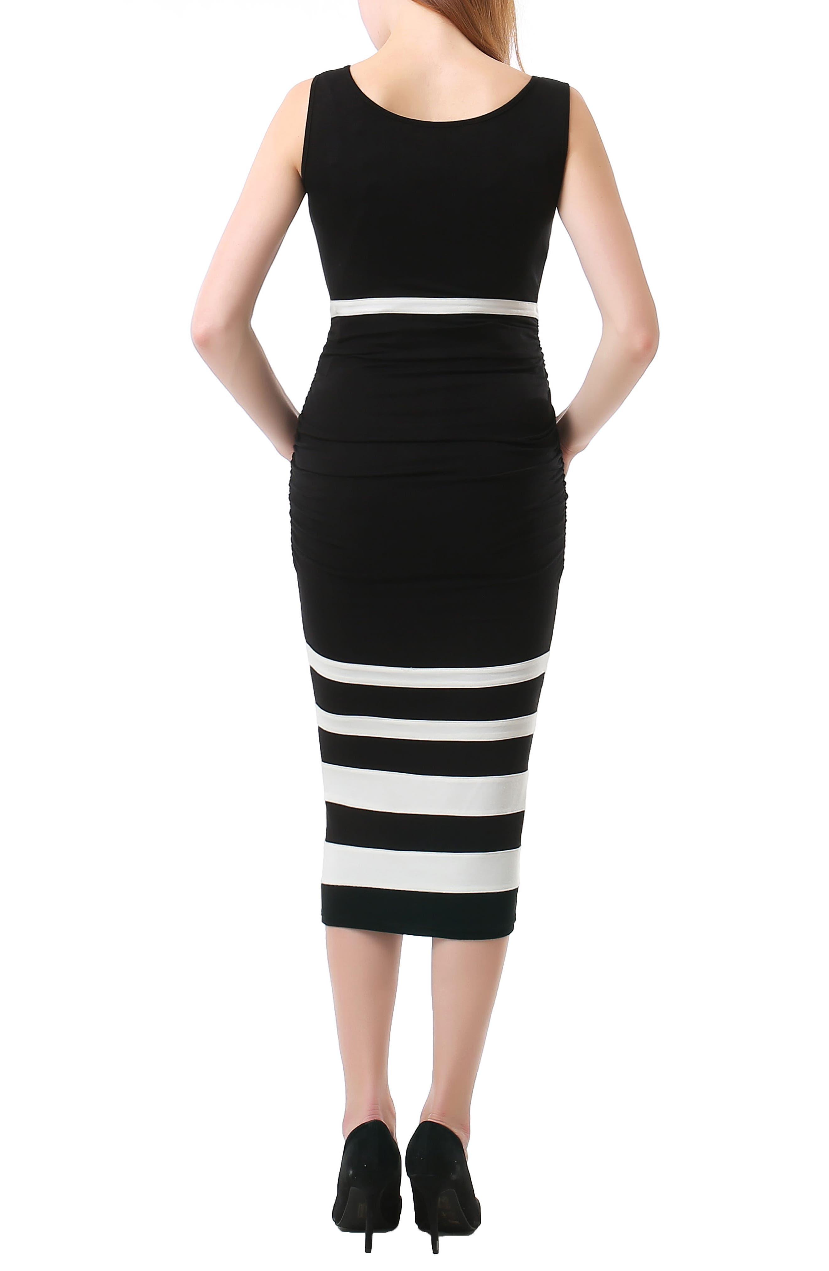 Miranda Colorblock Maternity Body-Con Dress,                             Alternate thumbnail 2, color,                             BLACK/ WHITE