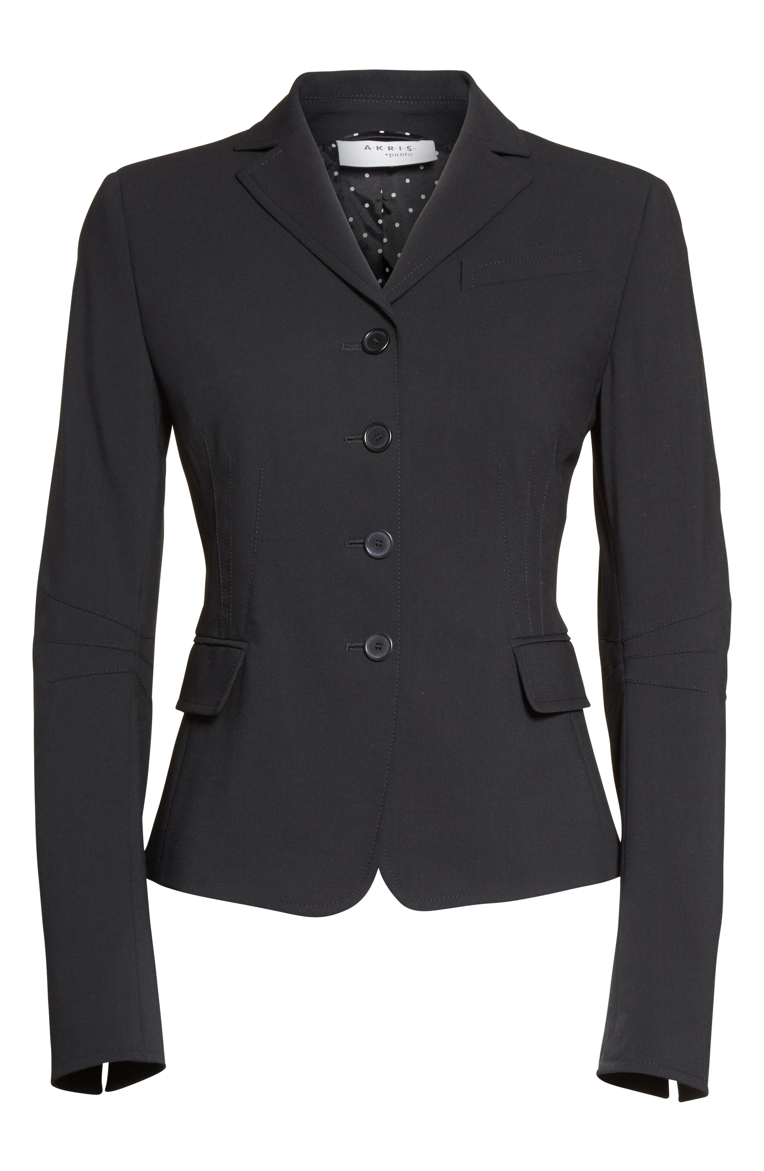 Fitted Wool Jacket,                             Alternate thumbnail 3, color,                             BLACK