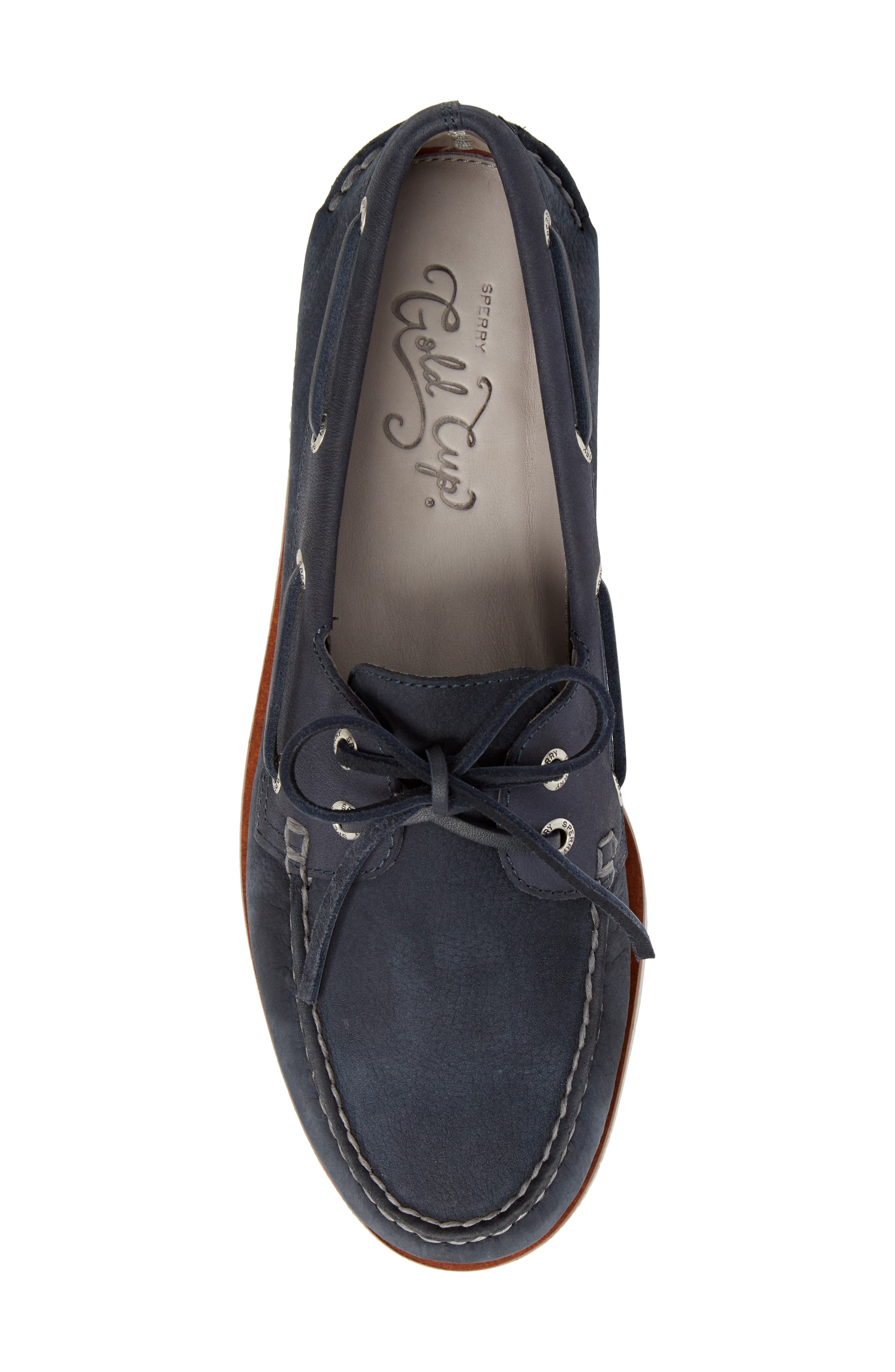 'Gold Cup - Authentic Original' Boat Shoe,                             Alternate thumbnail 5, color,                             BLUE/ NAVY LEATHER