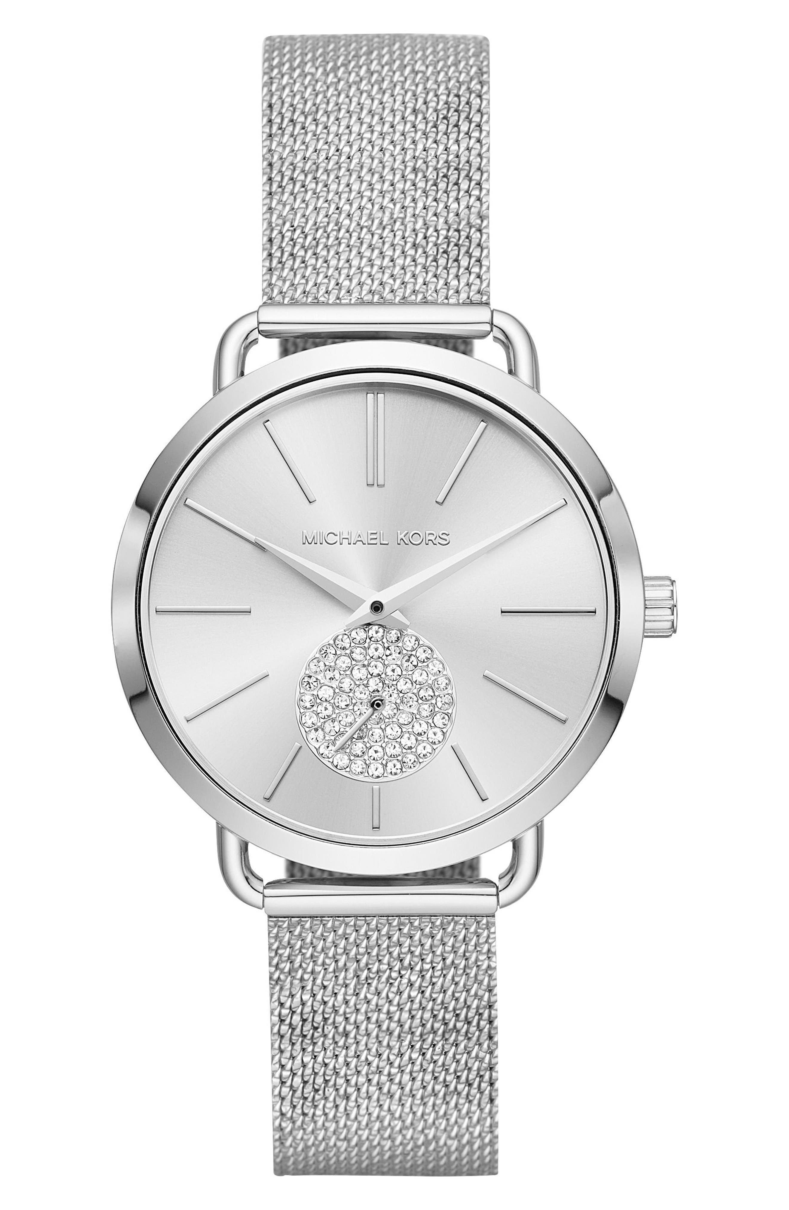 Portia Mesh Strap Watch, 37mm,                         Main,                         color,