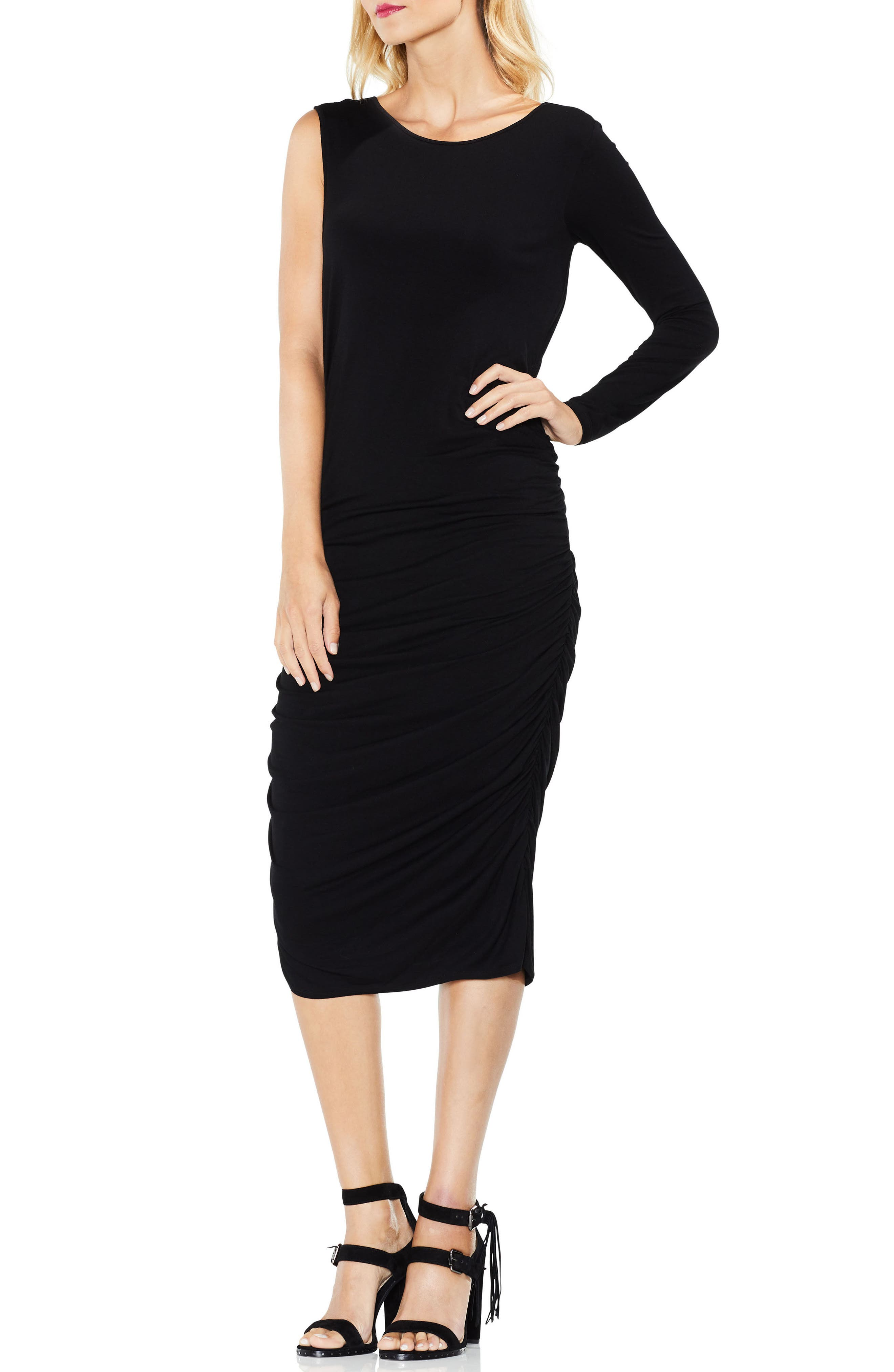 One Sleeve Side Ruched Body-Con Dress,                         Main,                         color, RICH BLACK