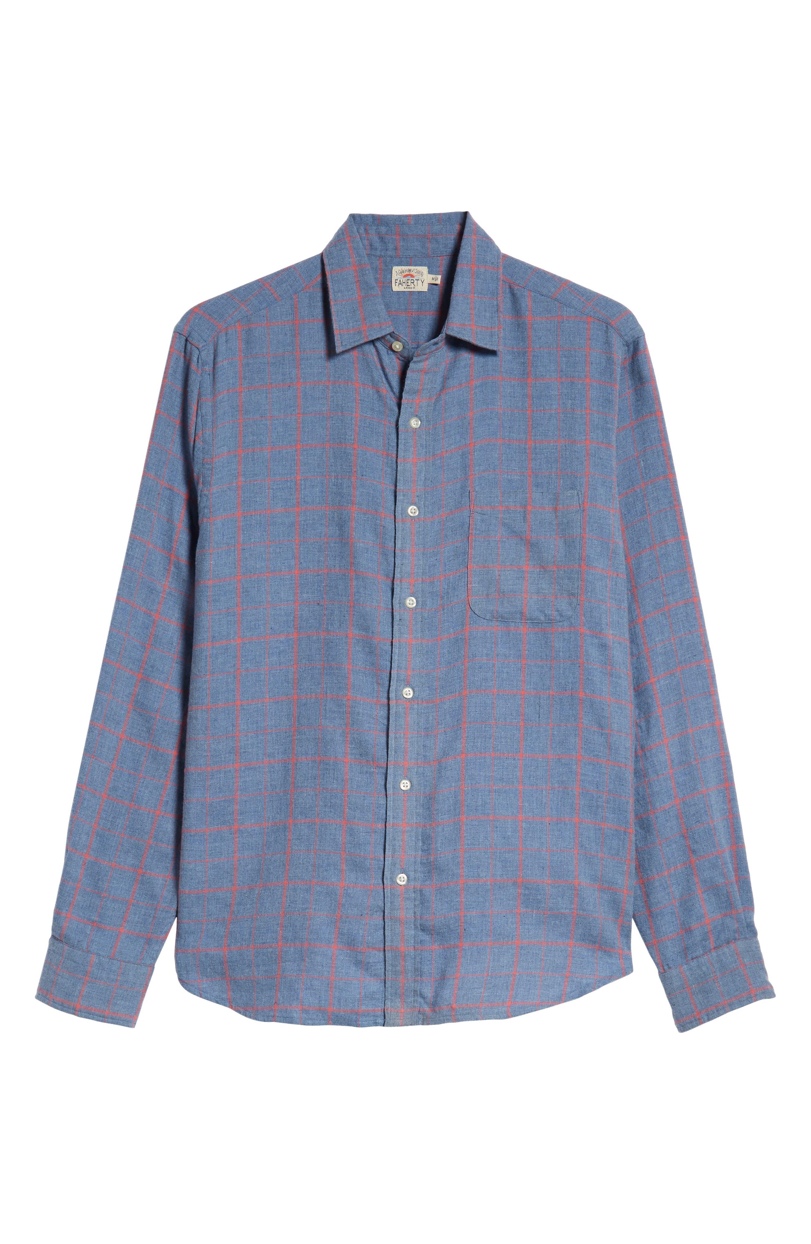 Ventura Windowpane Sport Shirt,                             Alternate thumbnail 5, color,                             BLUE MELANGE WINDOWPANE