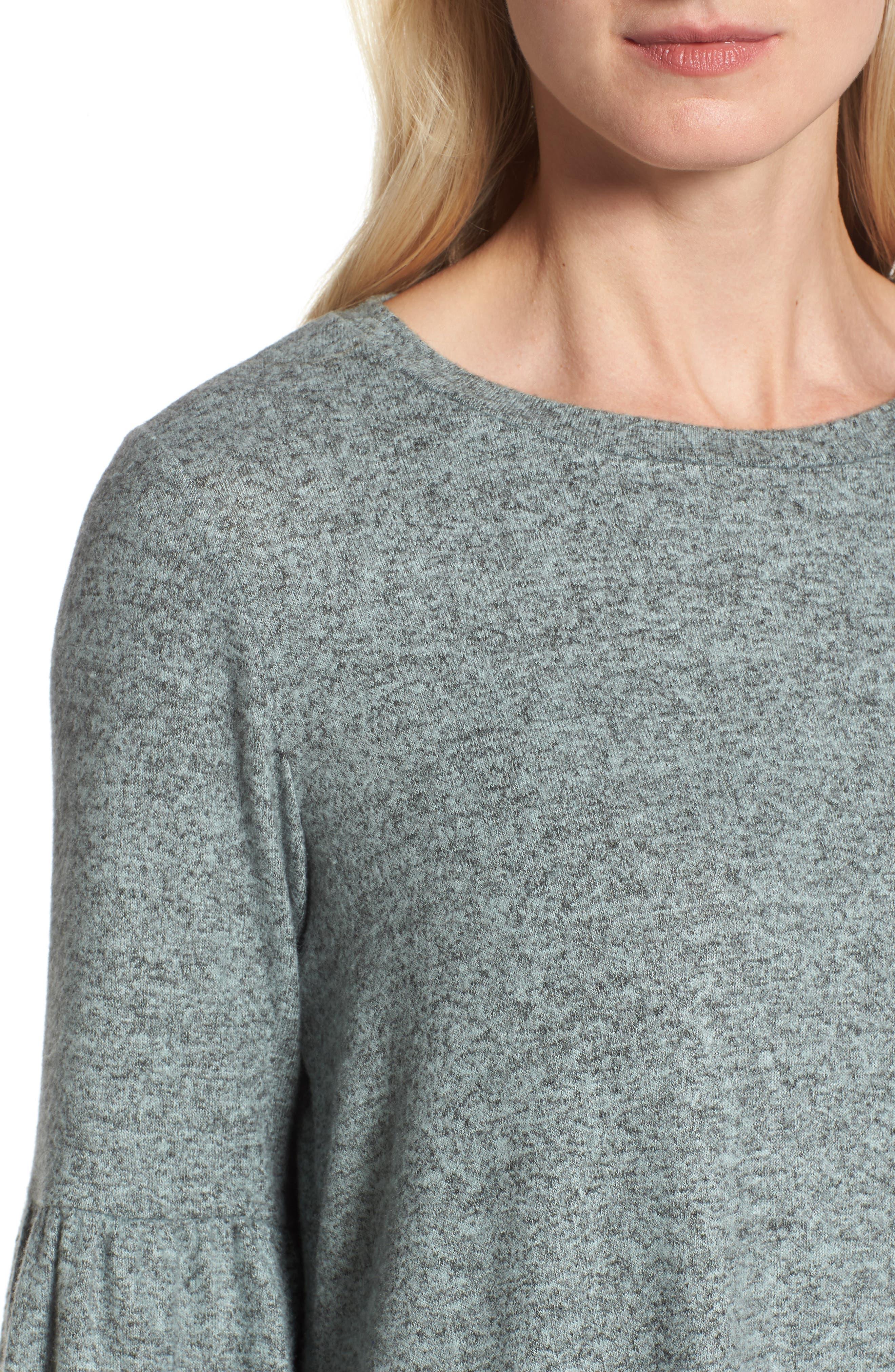 Bell Sleeve Cozy Fleece Pullover,                             Alternate thumbnail 38, color,