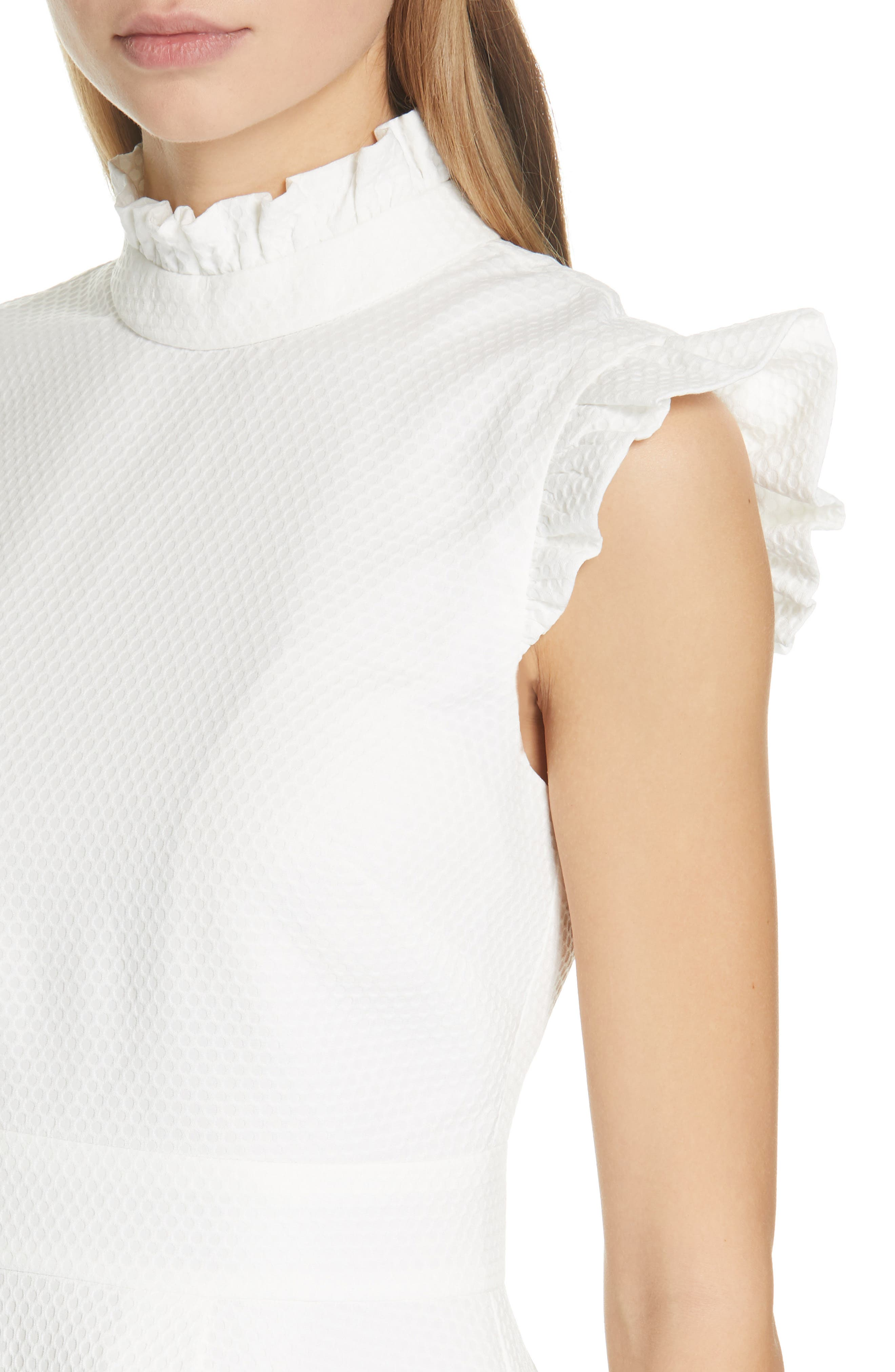 Ruffle Bubble Texture Top,                             Alternate thumbnail 4, color,                             IVORY