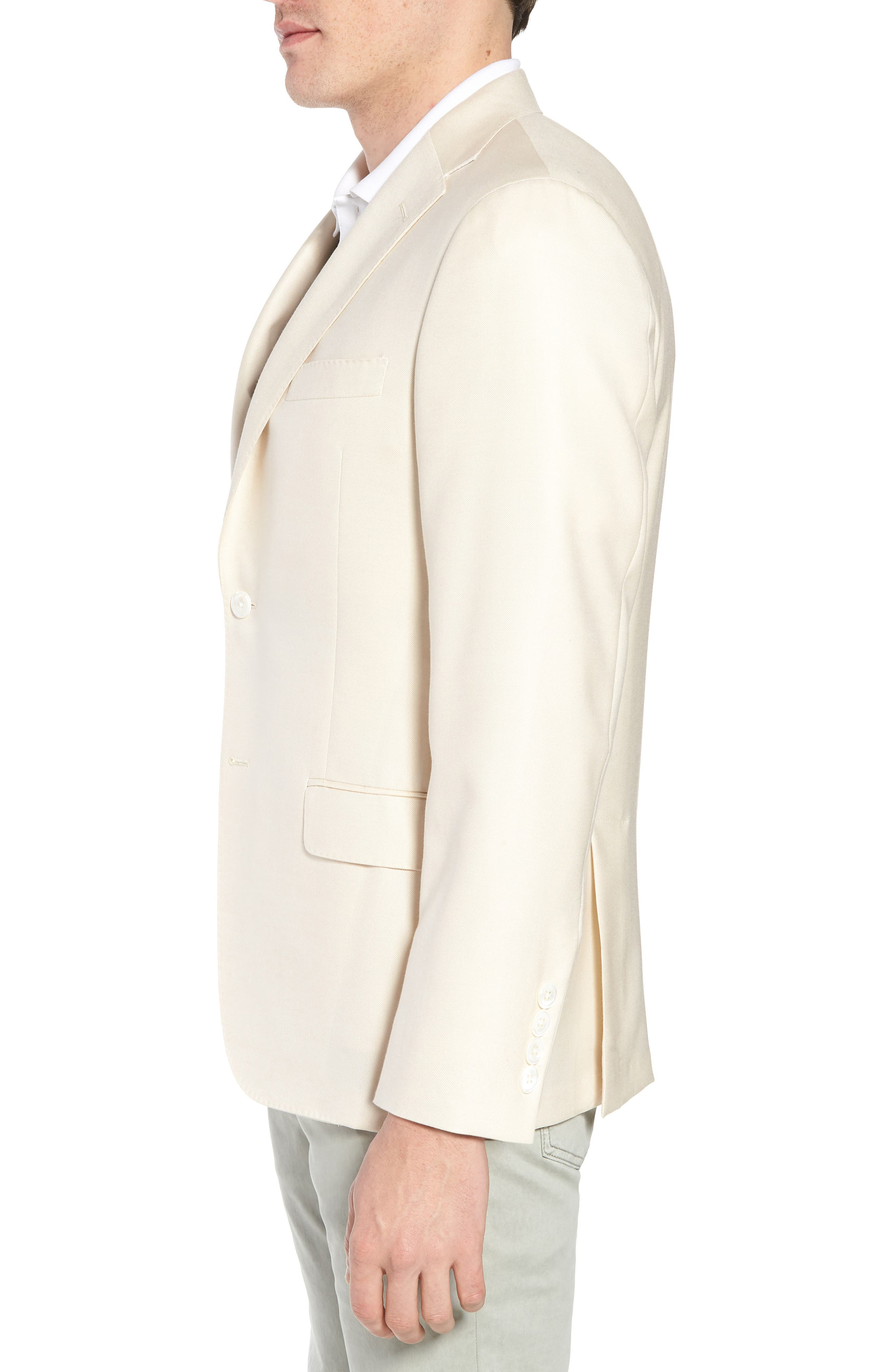 Classic B Fit Wool & Silk Blazer,                             Alternate thumbnail 3, color,                             IVORY SOLID