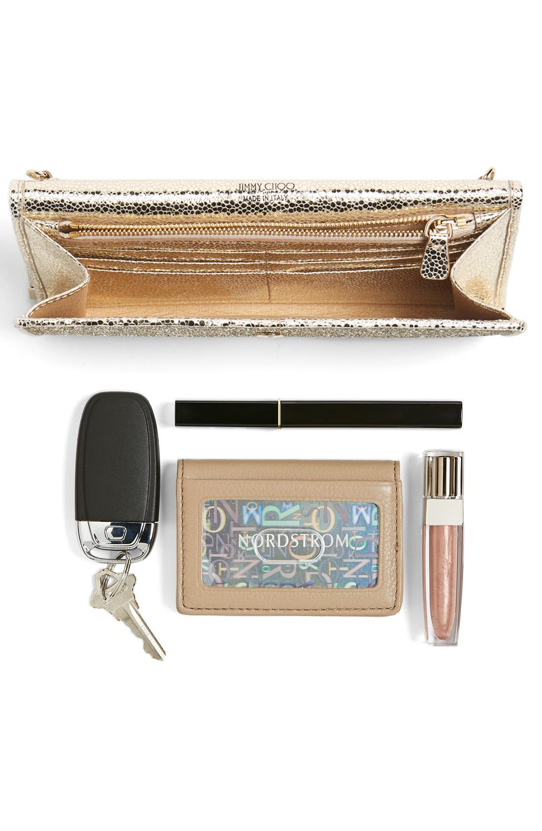 'Milla' Glitter Wallet on a Chain,                             Alternate thumbnail 9, color,                             CHAMPAGNE