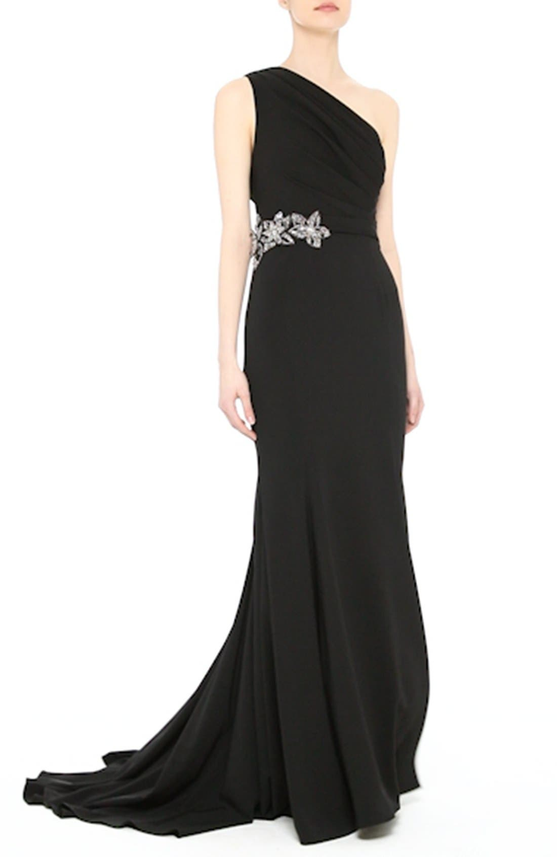 Badgley Mischka Couture Odessa Embellished One-Shoulder Gown,                             Alternate thumbnail 8, color,                             001