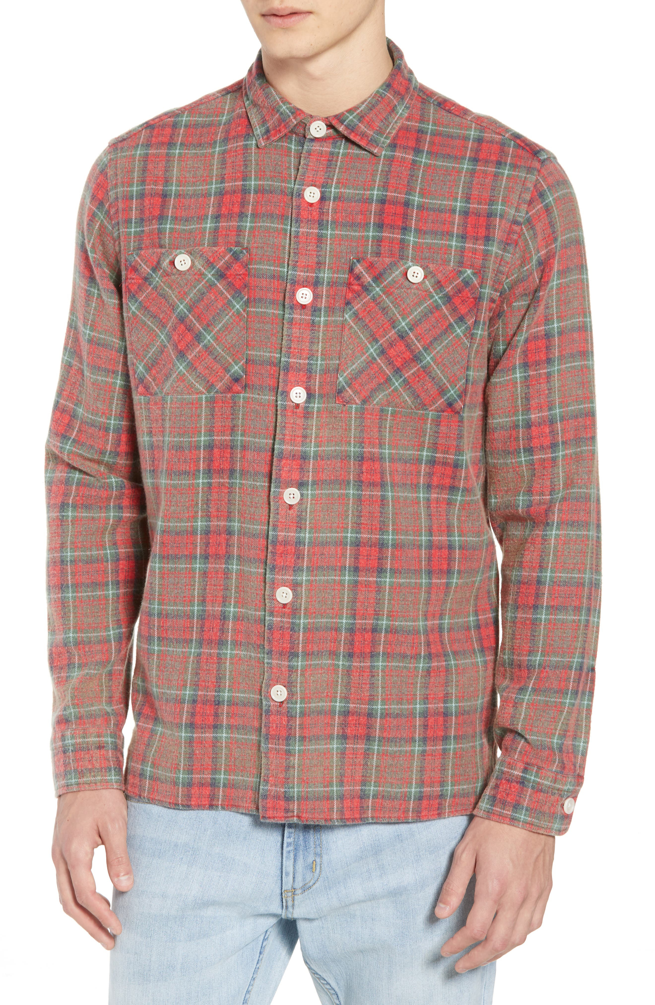 Wax London Whiting Plaid Flannel Shirt, Red