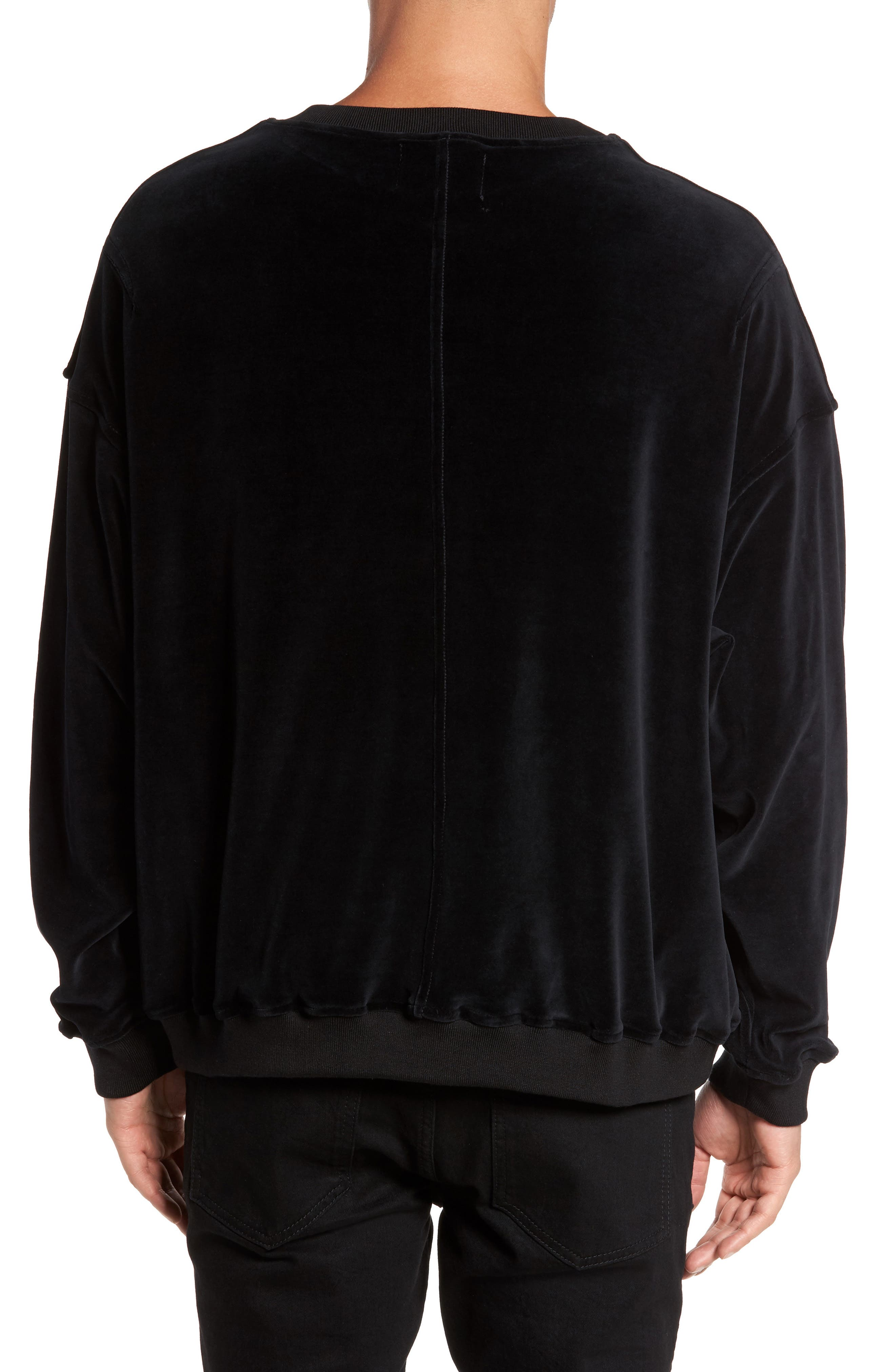 Relaxed Fit Velour Sweater,                             Alternate thumbnail 2, color,                             001