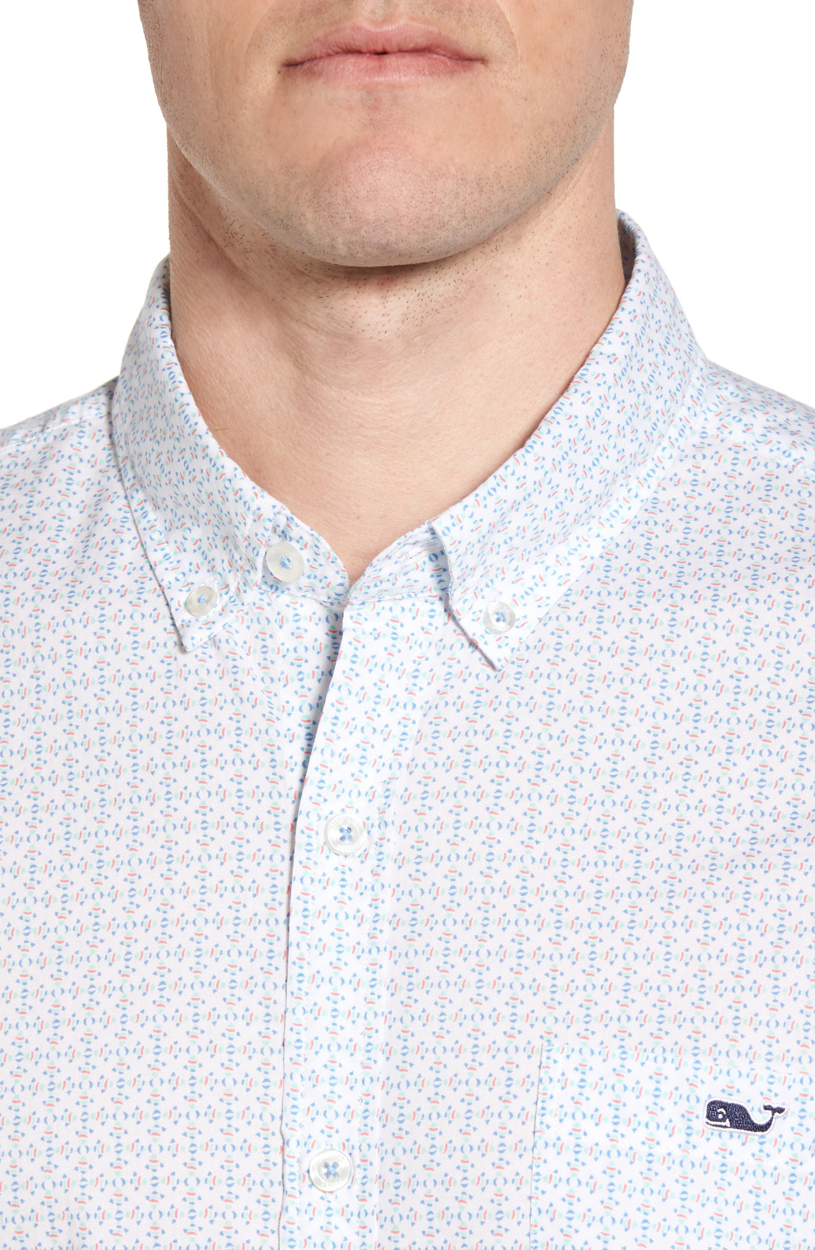 Fish Check Tucker Slim Fit Sport Shirt,                             Alternate thumbnail 4, color,                             100