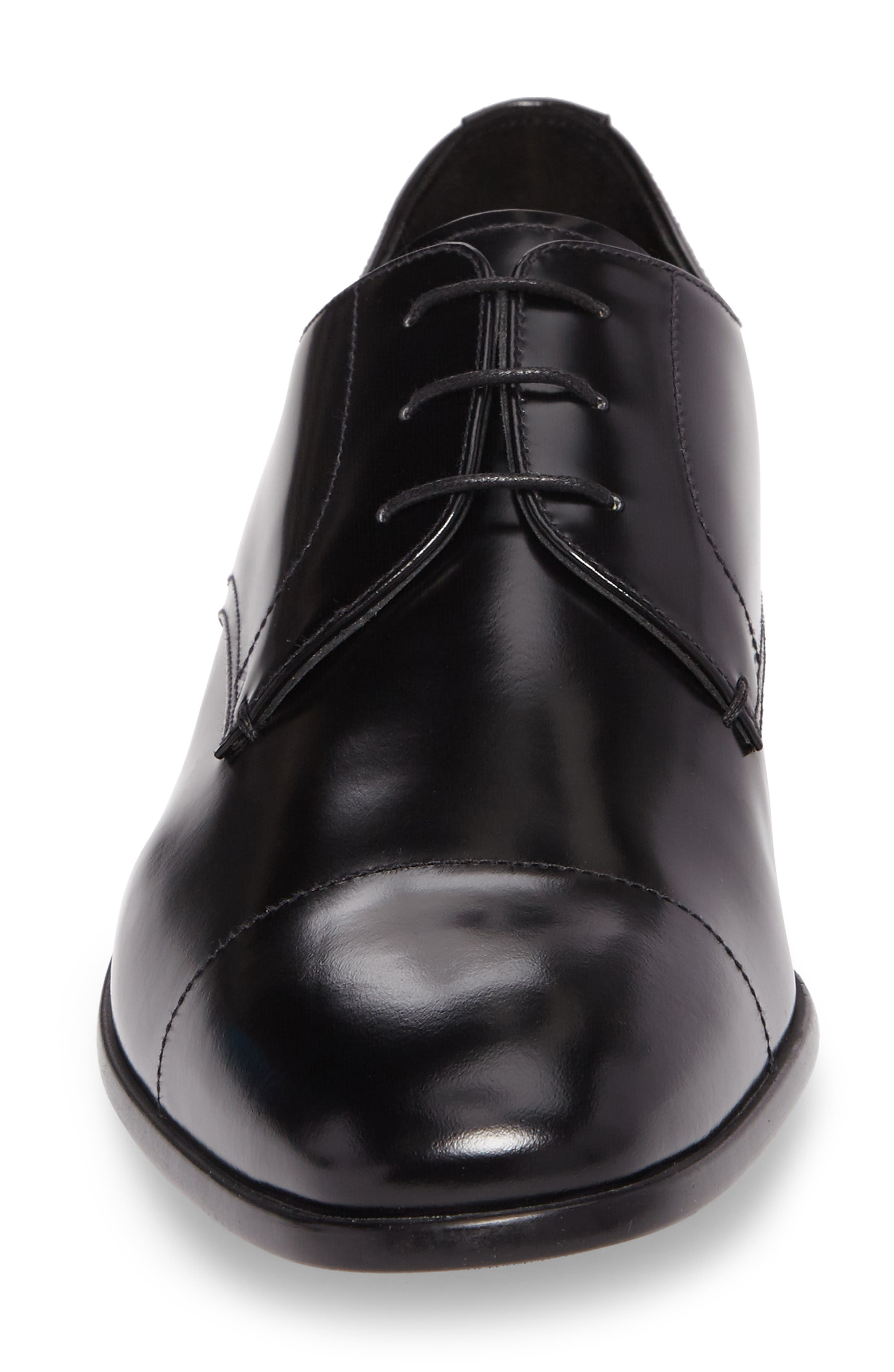 Cap Toe Derby,                             Alternate thumbnail 4, color,                             BLACK