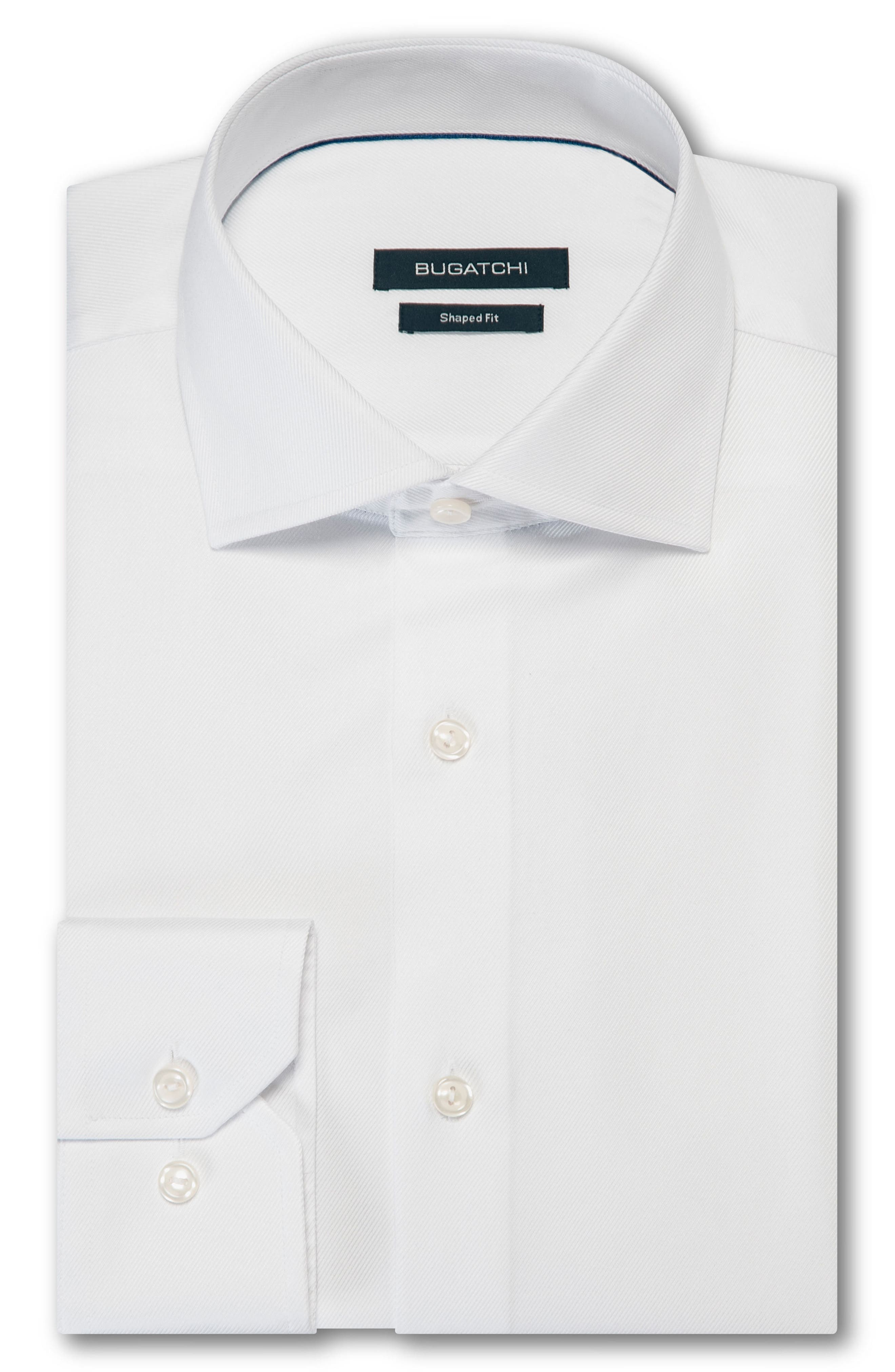 Shaped Fit Solid Dress Shirt,                         Main,                         color, WHITE