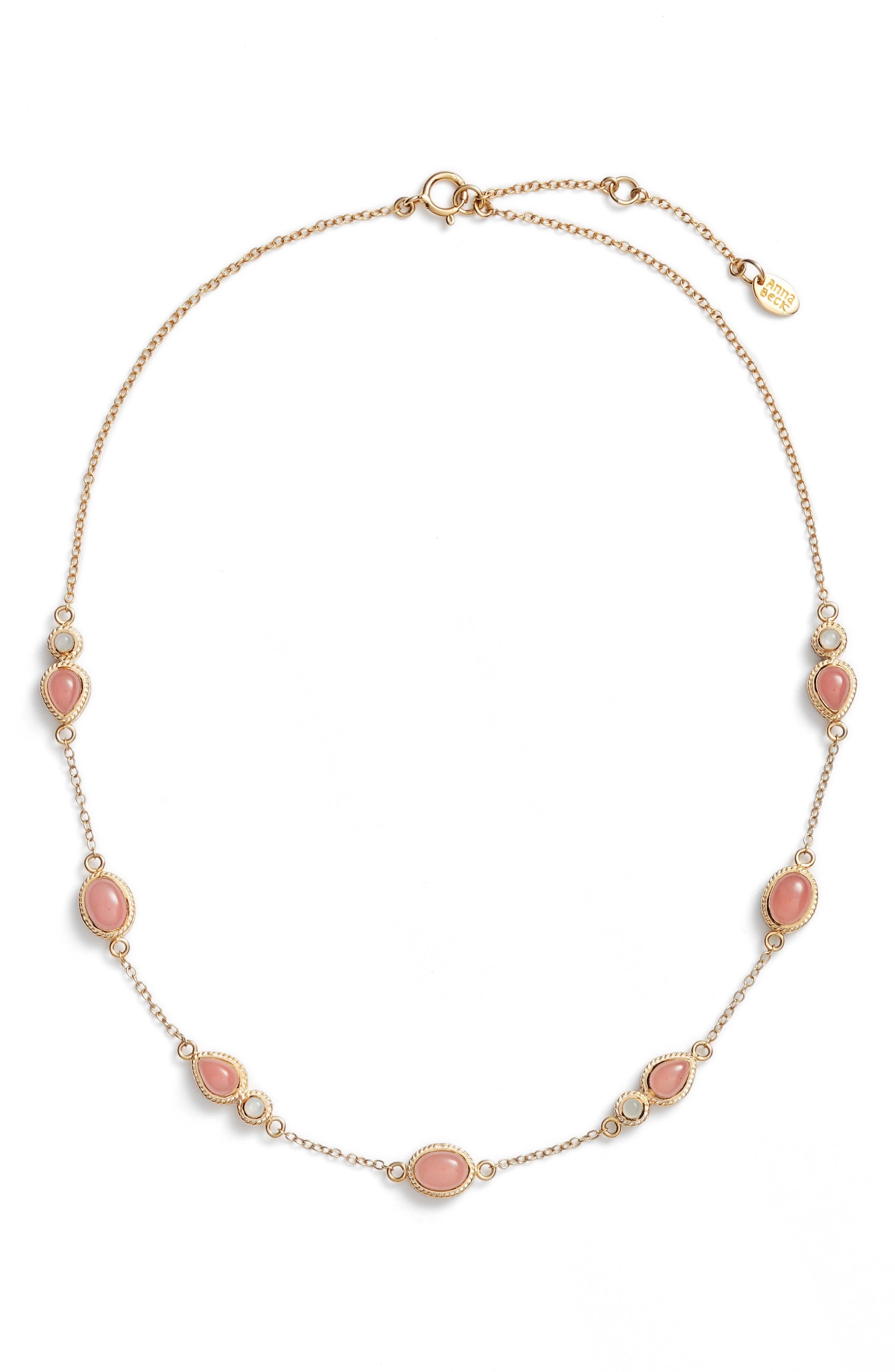 Guava Quartz & Moonstone Station Necklace,                             Main thumbnail 1, color,                             950
