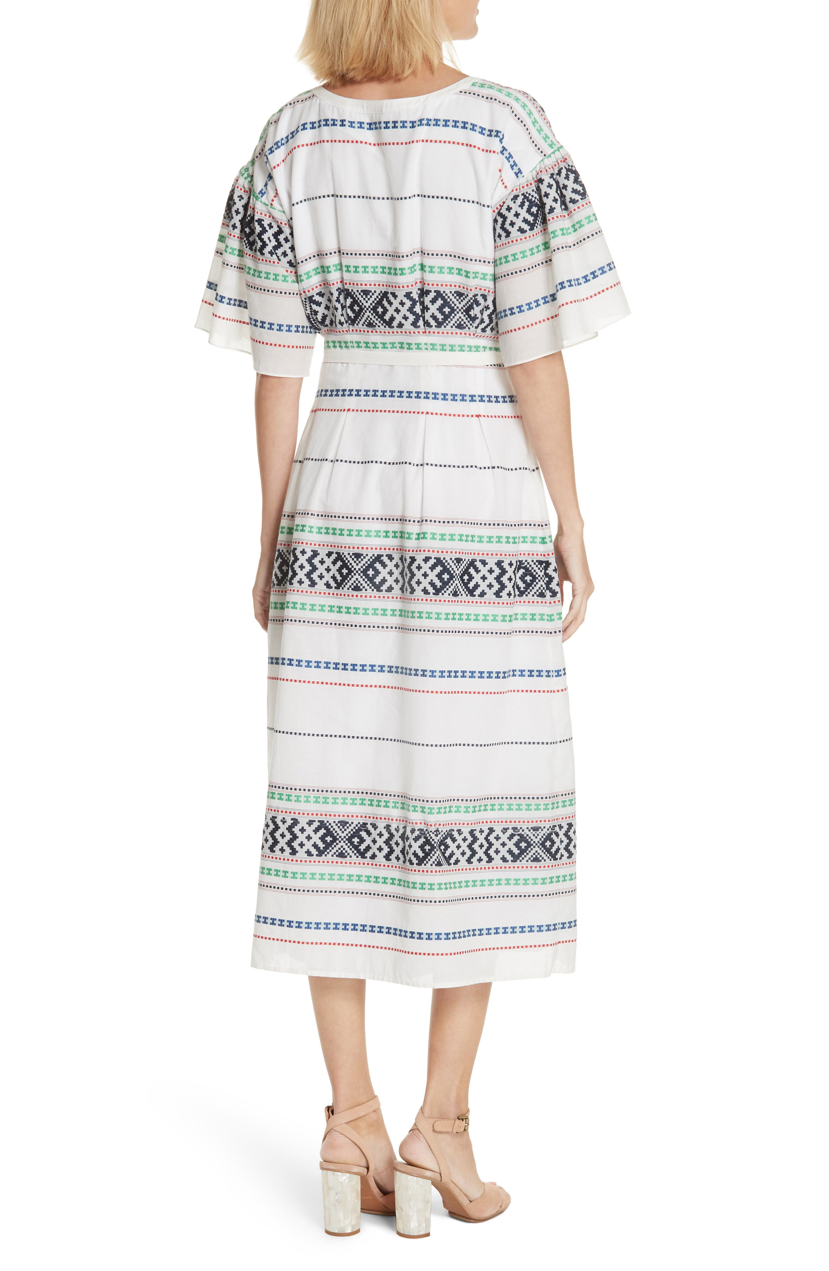 Lilianaly Embroidered Midi Dress,                             Alternate thumbnail 2, color,                             PORCELAIN