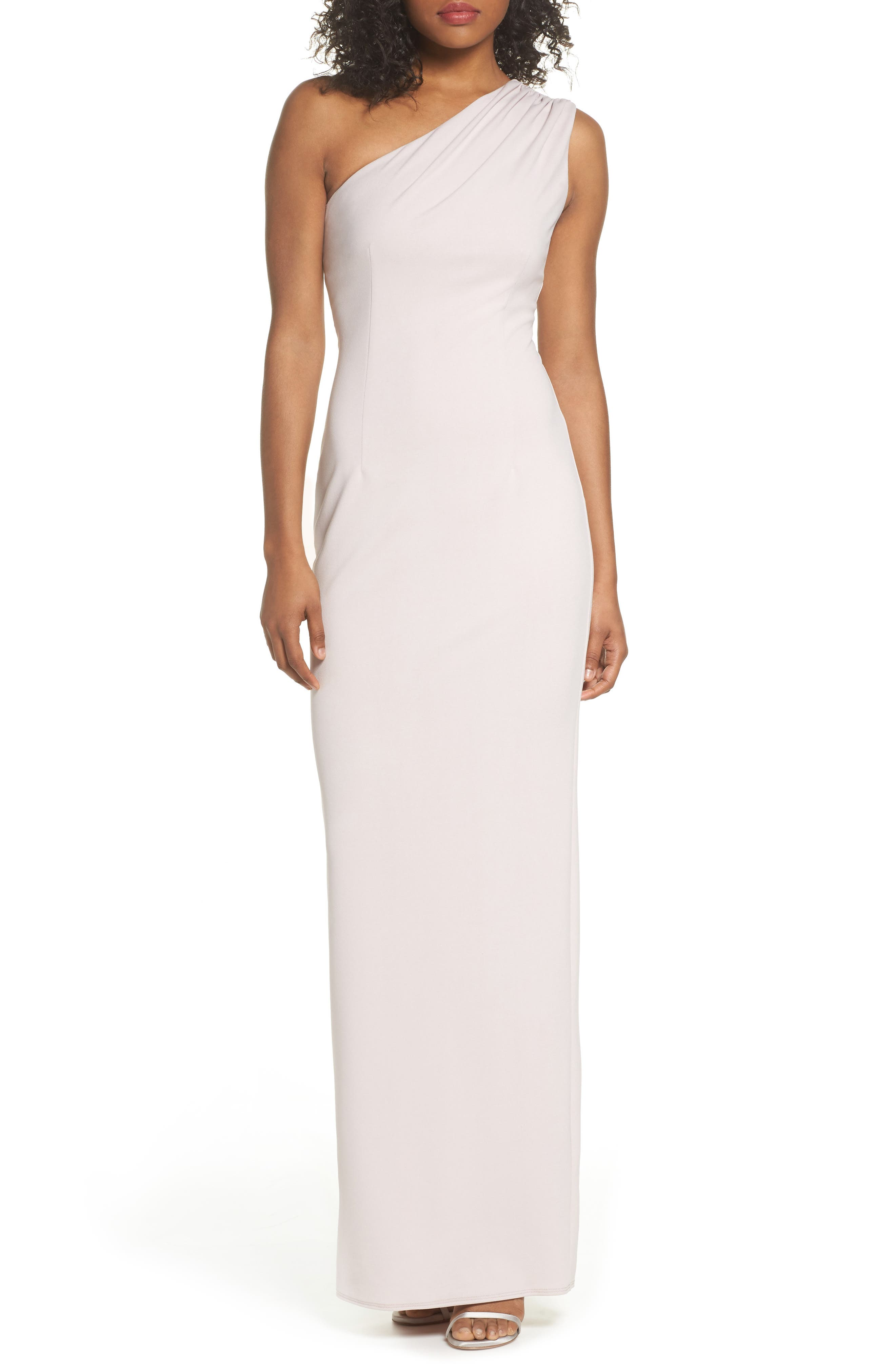 Angelina One-Shoulder Crepe Column Gown,                             Main thumbnail 1, color,                             BALLET