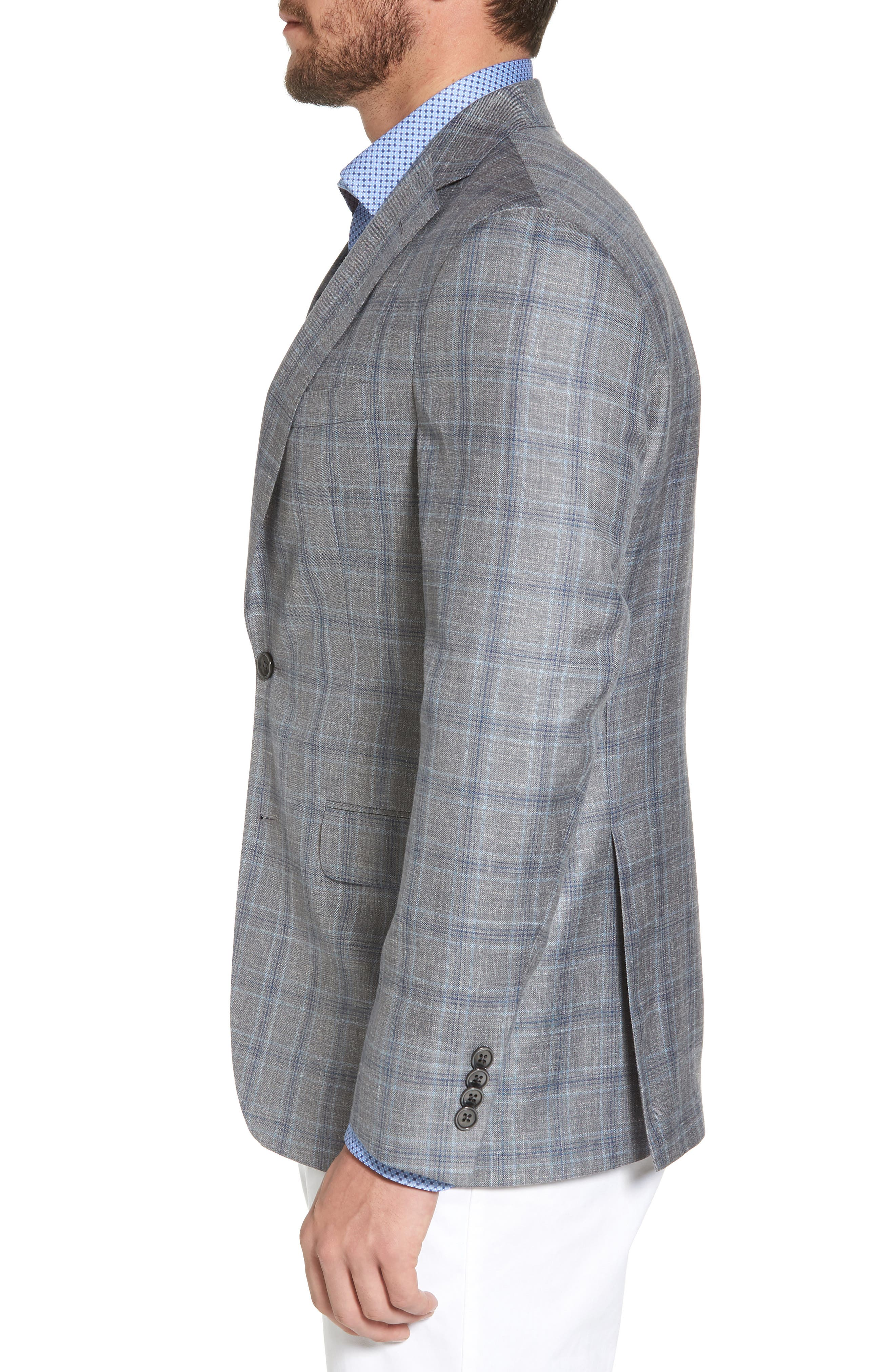 Arnold Classic Fit Plaid Wool Blend Sport Coat,                             Alternate thumbnail 3, color,                             020