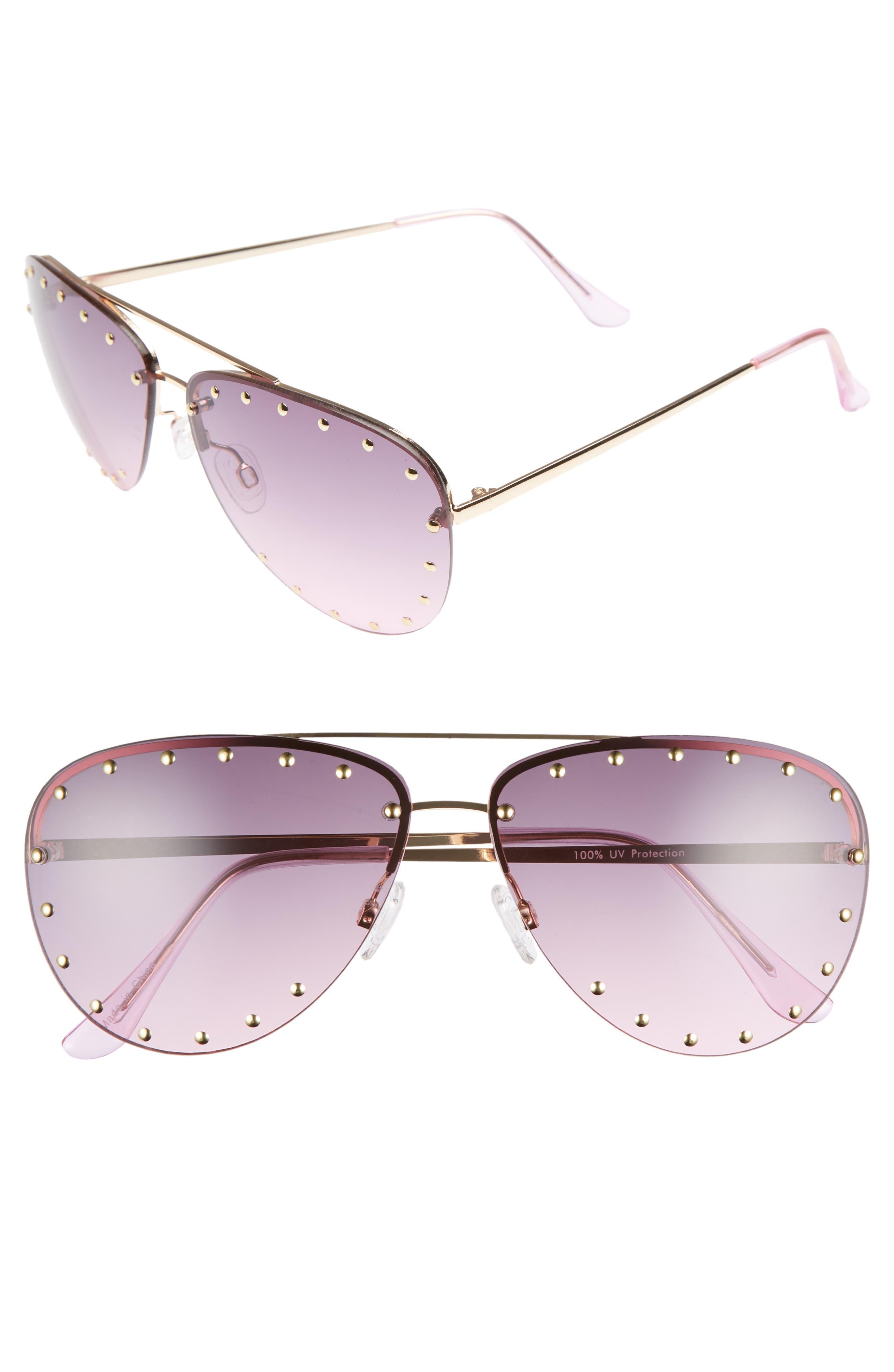 63mm Studded Aviator Sunglasses,                             Main thumbnail 2, color,