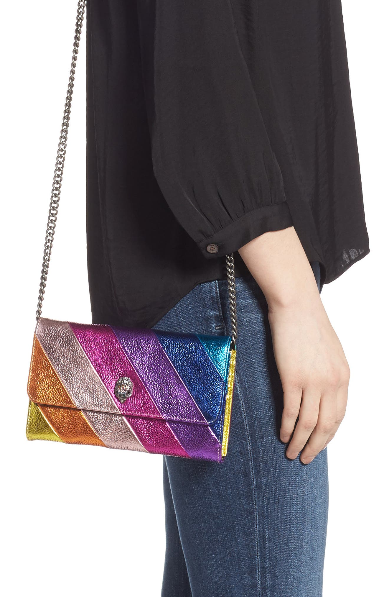 Stripe Leather Chain Wallet,                             Alternate thumbnail 2, color,                             MULTI/ OTHER