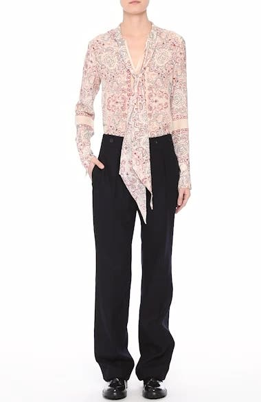 Alene Print Tie Neck Silk Blouse, video thumbnail
